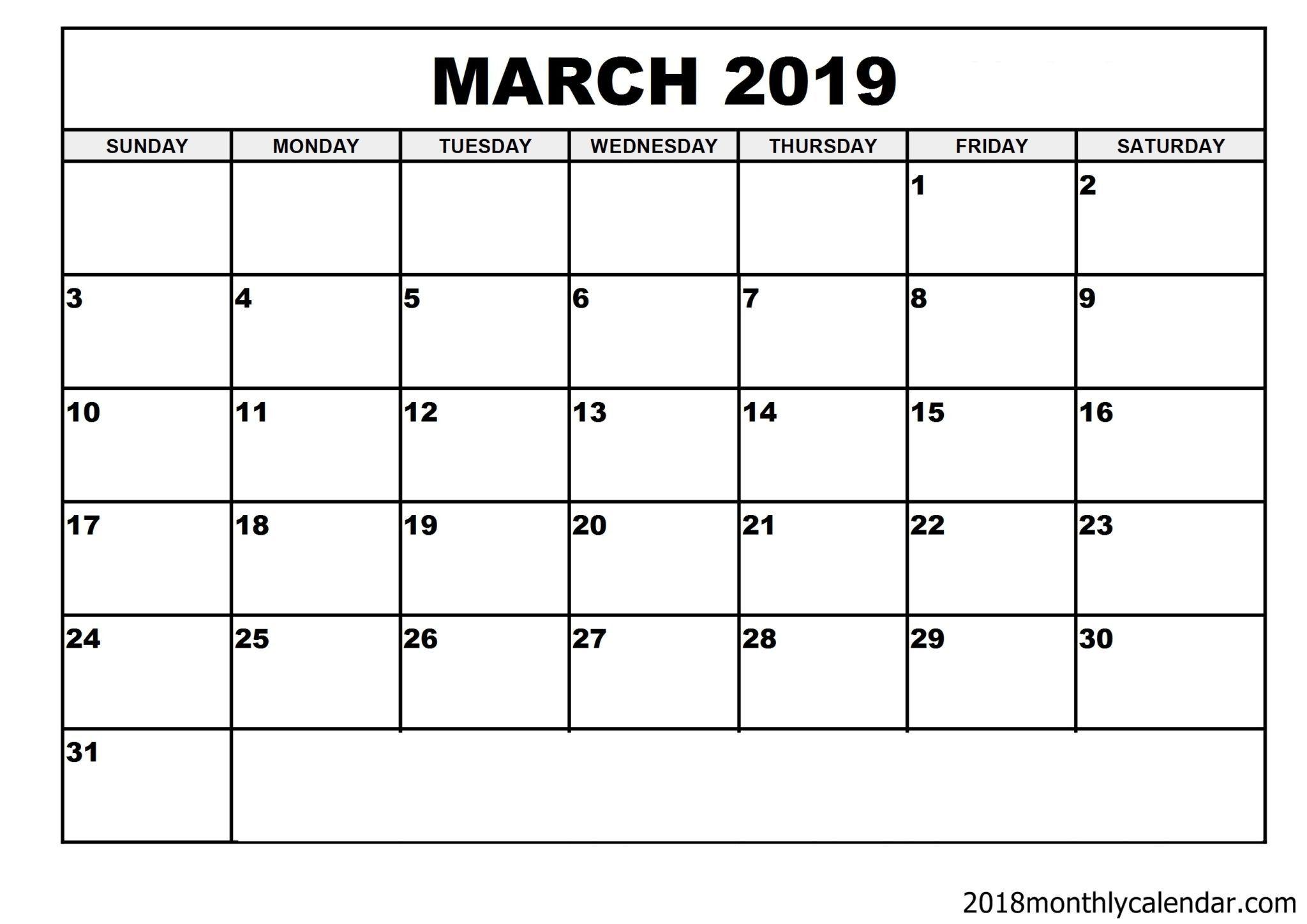 Download March 2019 Calendar – Blank Template - Editable Calendar intended for Calendar Template Fillable Pdf