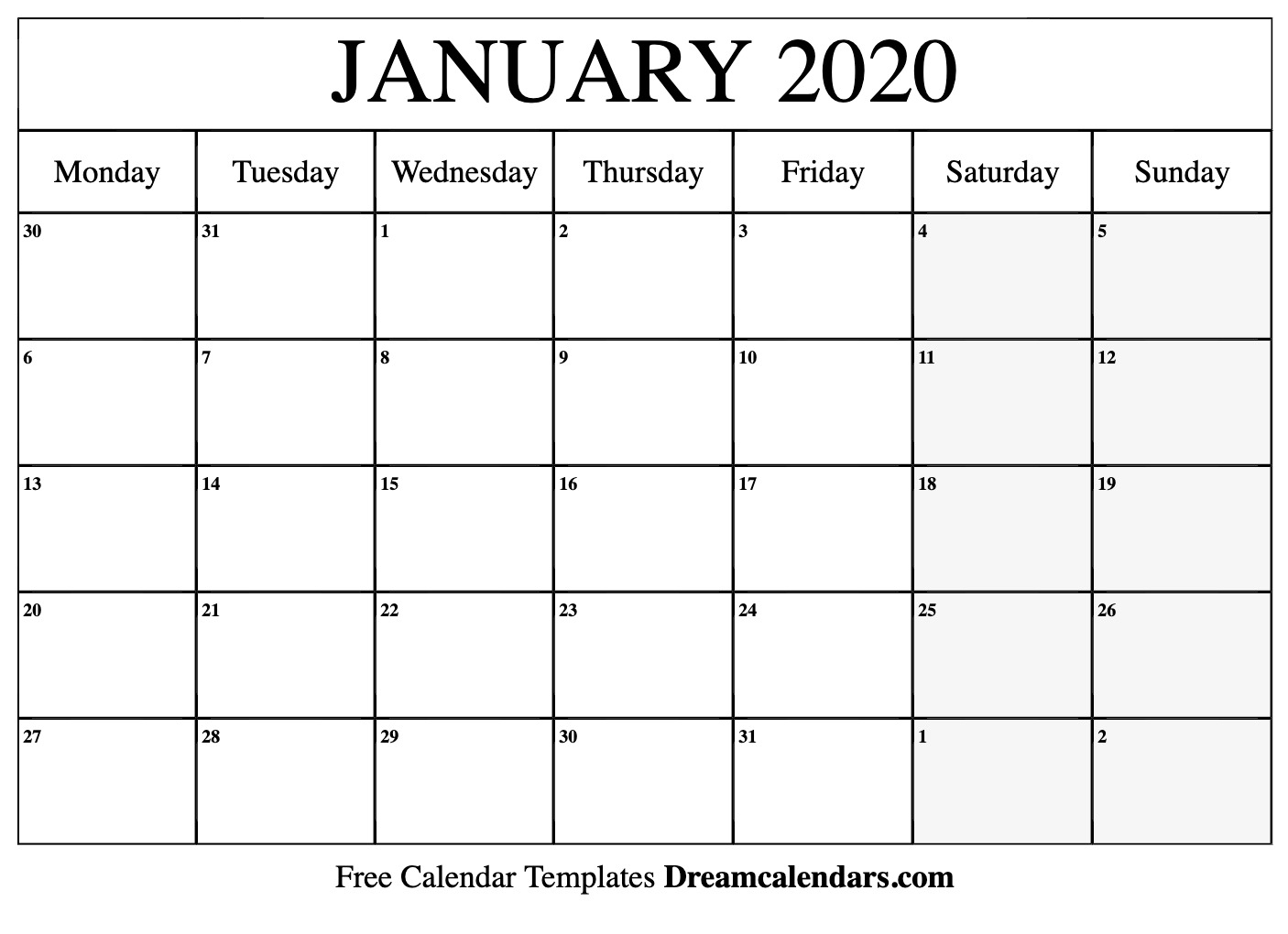 Dream Calendars - Make Your Calendar Template Blog for Monday Through Friday Calendar Template January Printable