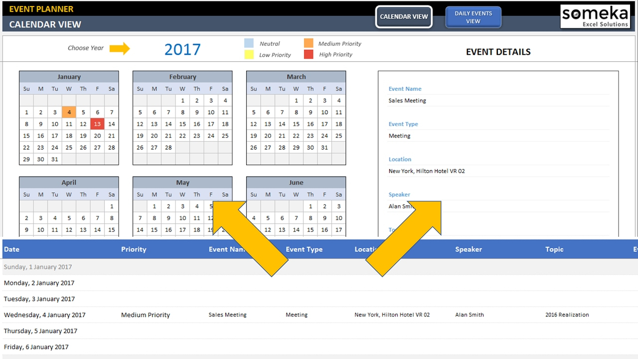 Dynamic Event Calendar - Excel Template for Yearly Event Calendar Template Excel