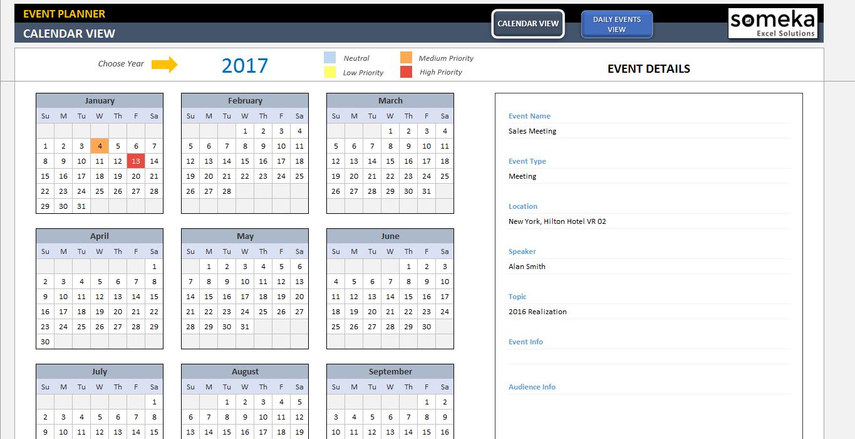 Dynamic Event Calendar inside Event Planning Calendar Template
