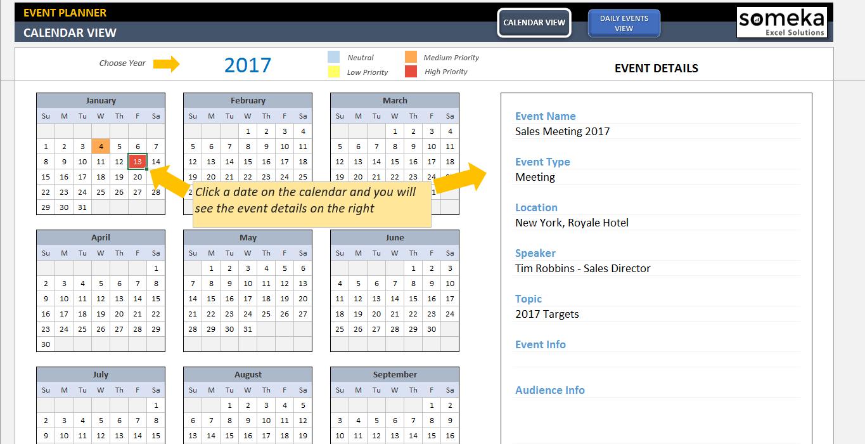 Dynamic Event Calendar inside Event Schedule Planner Template