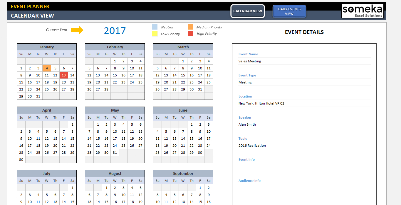 Dynamic Event Calendar with Excel Template For Calendar