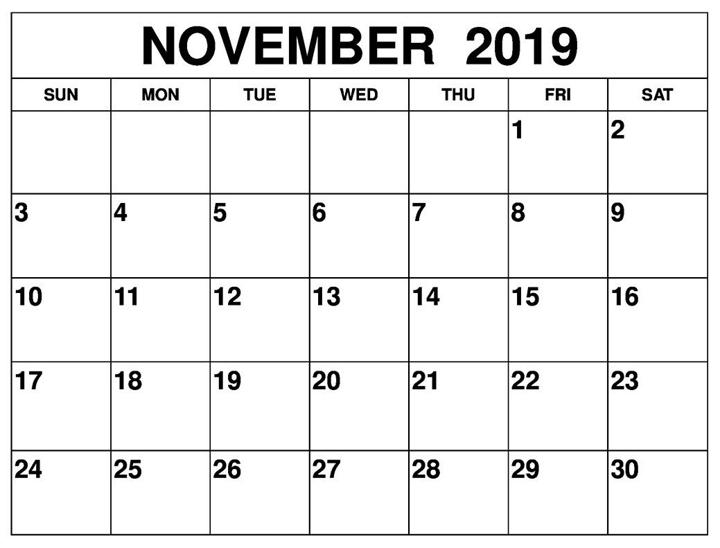 ✅ 25+ Blank November Calendar Templates 2019 With Notes Pdf with regard to November Calendar Template Free