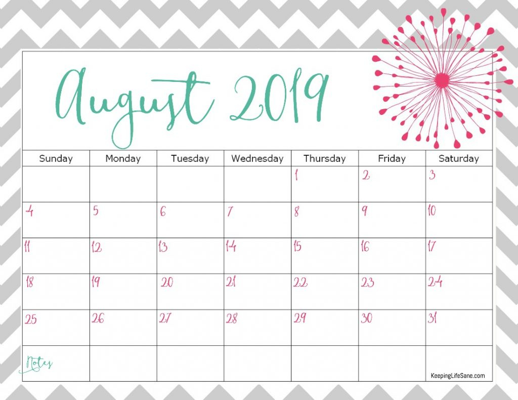 ✅ Blank August 2019 Calendar Printable Free Download for Cute August Monthly Calendar Template Printable