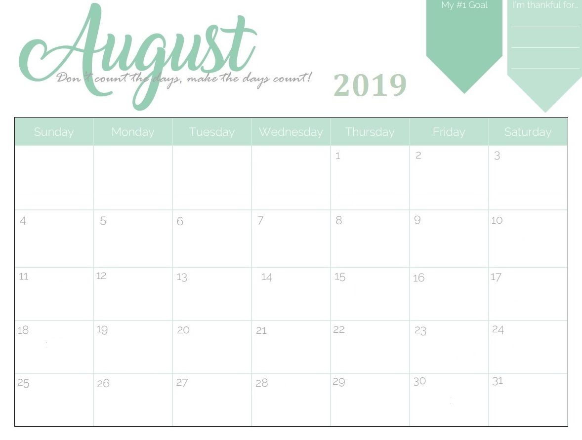 ✅ Blank August 2019 Calendar Printable Free Download for Cute Calendar Templates July