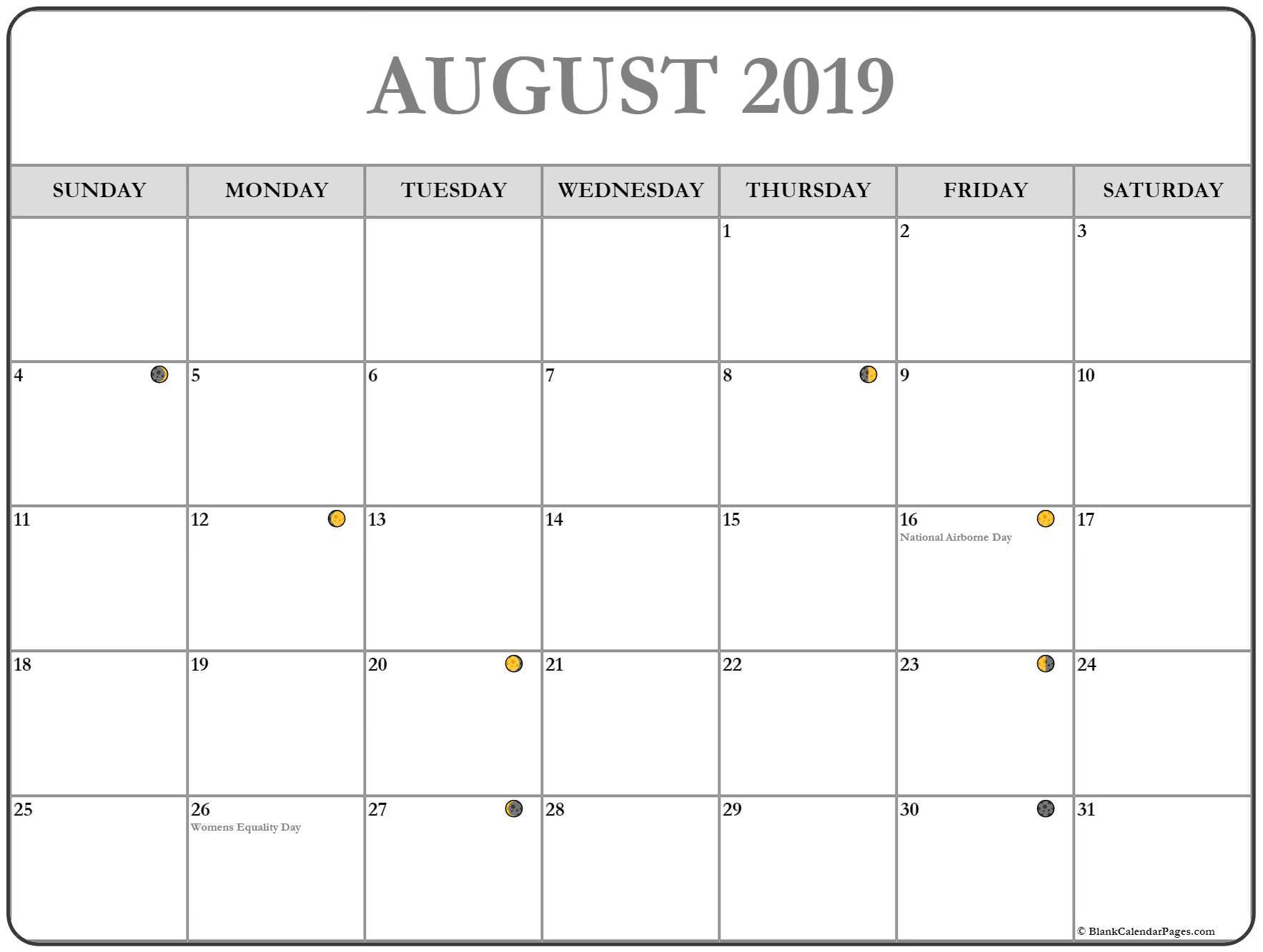 ✅ Blank August 2019 Calendar Printable Free Download inside August Blank Calendar Pages