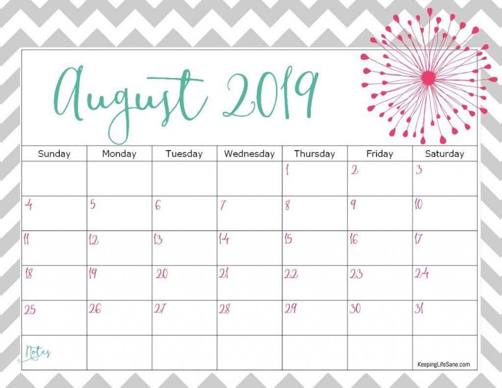 ✅ Blank August 2019 Calendar Printable Free Download intended for Cute Printable August Calendar Template