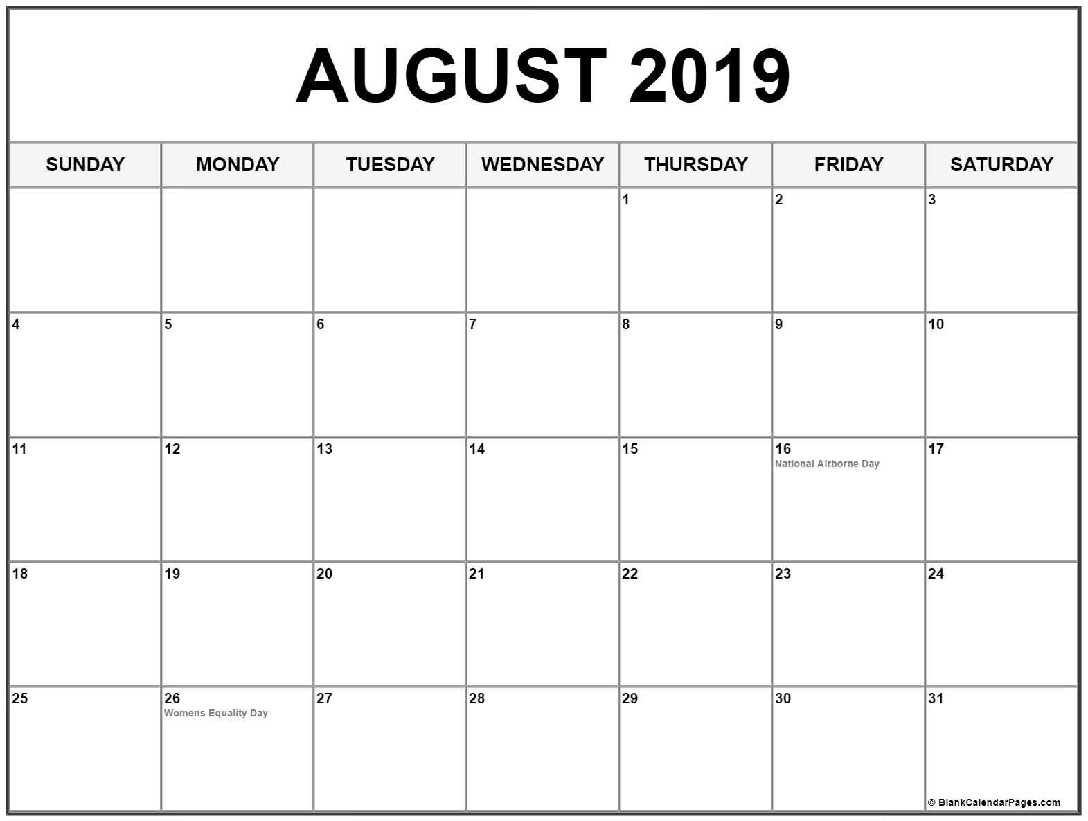 ✅ Blank August 2019 Calendar Printable Free Download with Monthly August Calander Template