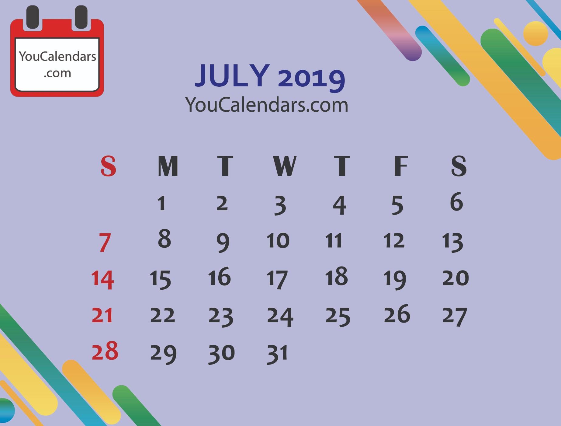 ✅Download July Calendar Printable Template Blank July 2019 Calendar throughout July Calendar Printable Template