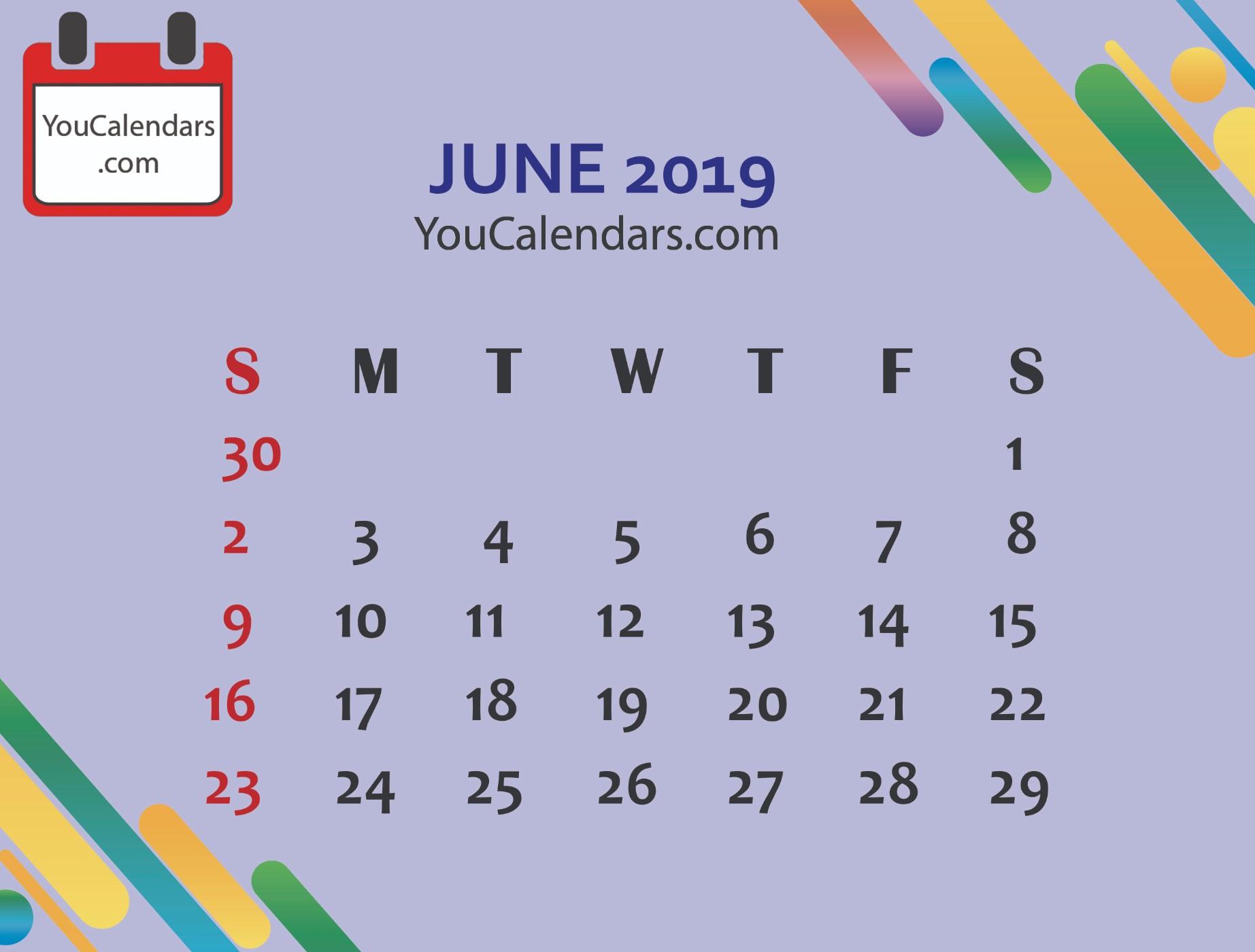 ✅Download June Calendar Printable Template Blank June 2019 Calendar within June Calendar Printable Template