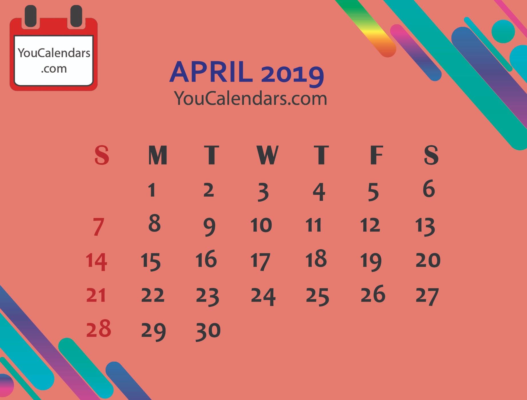 ✅Free April 2019 Calendar Printable Template - You Calendars inside Free Downloadable Cute Calendar Template
