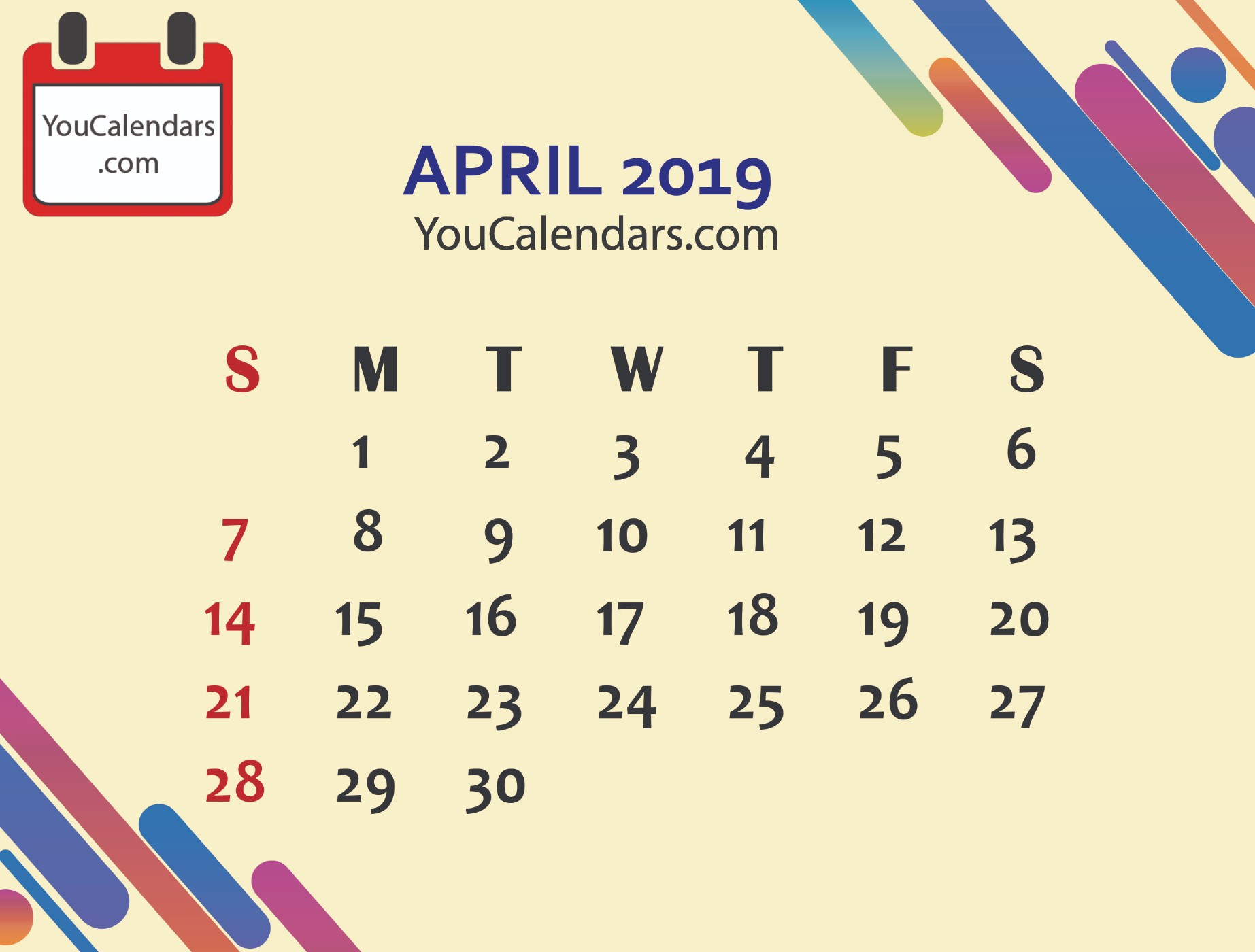 ✅Free April 2019 Calendar Printable Template - You Calendars with regard to Free Cute Printable Calendar Templates