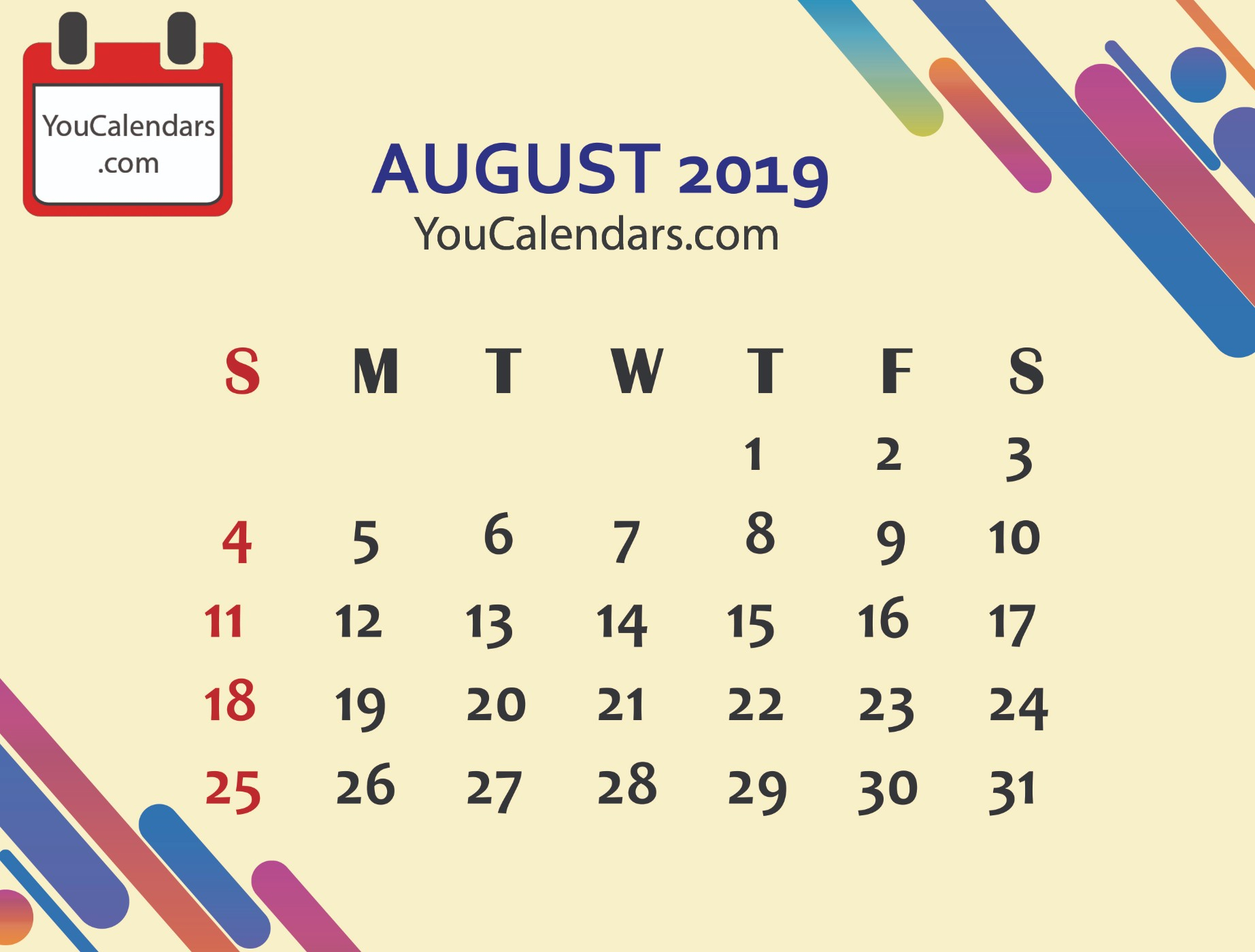 ✅Free August 2019 Calendar Printable Template - You Calendars in Blank August Colorful Calendar