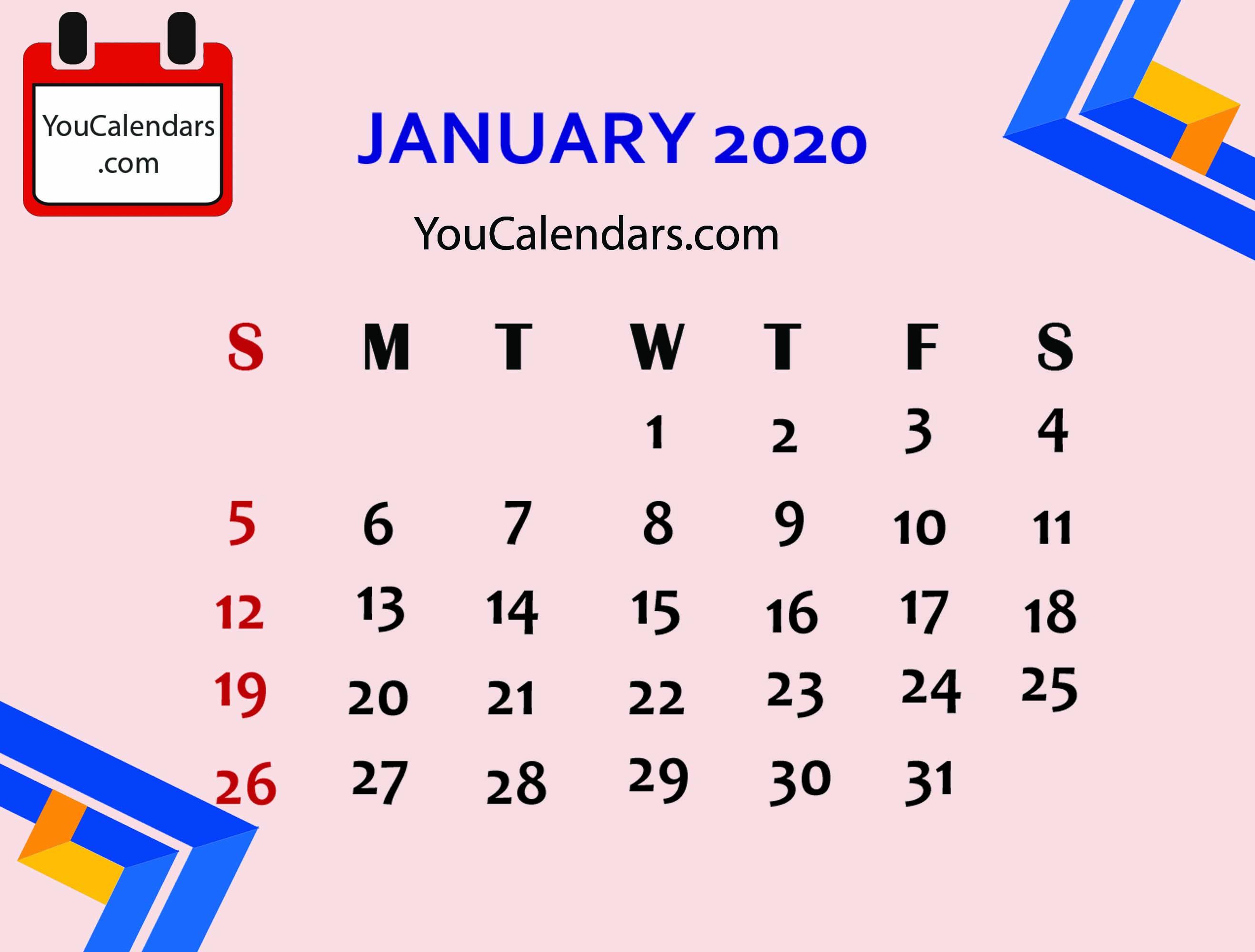 ✅Free January 2020 Calendar Printable Template - You Calendars inside Employee Attendance Calendar 2020 Prntable