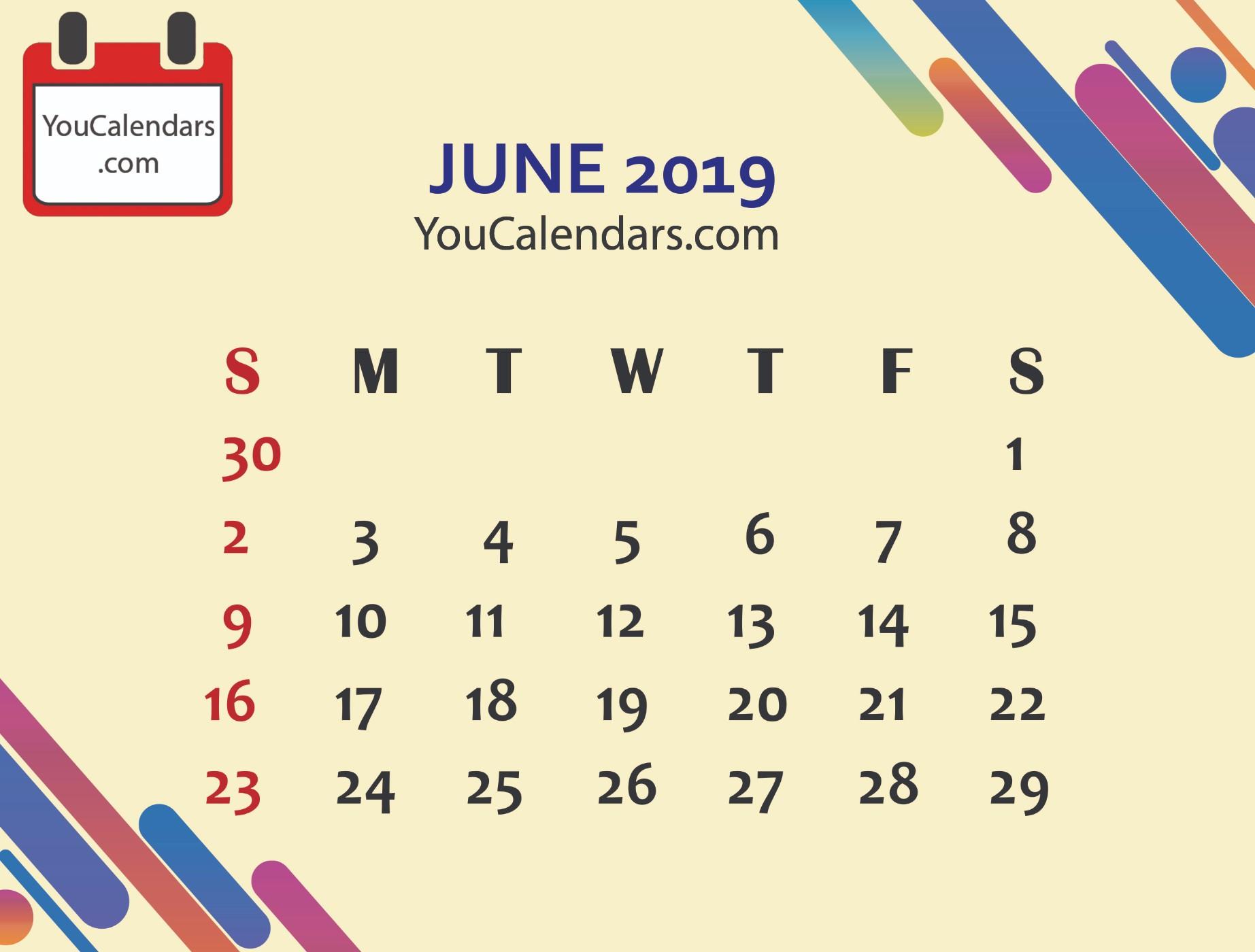 ✅Free June 2019 Calendar Printable Template - You Calendars intended for Cute Printable August Calendar Template