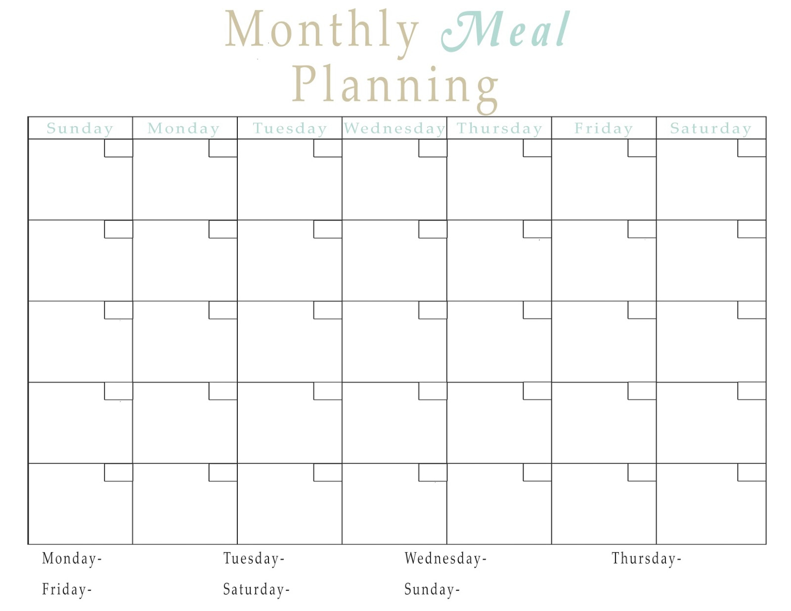 Easy Meal Plan Structure With Free Printables! - Fun Cheap Or Free within 1 Week Menu Calendar Template