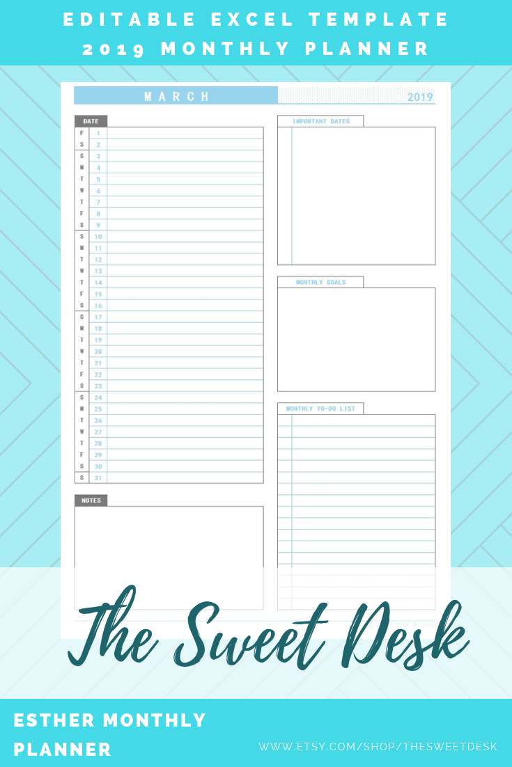 Editable 2019 Monthly Planner, Printable Vertical Monthly Calendar with Monthly Calendar Planner Excel Template