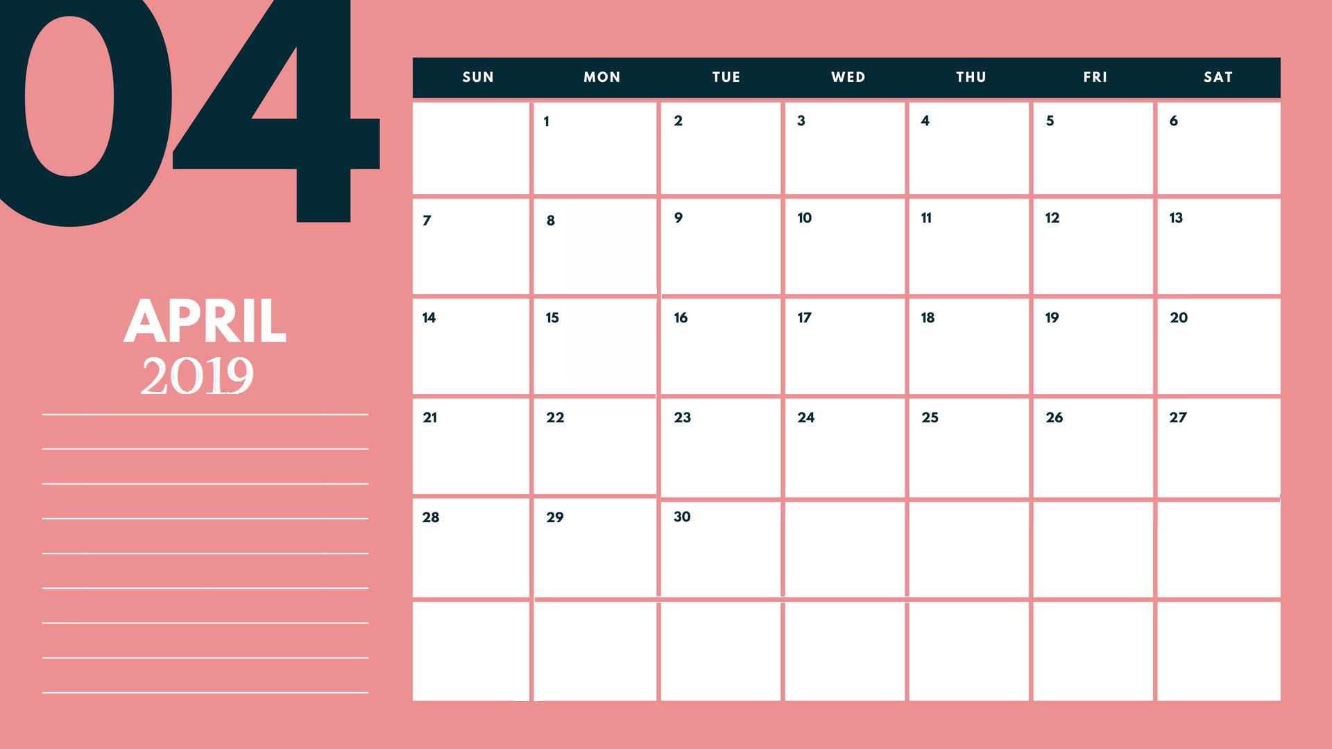 Editable April 2019 Calendar Printable Template With Holidays with Cute Printable August Calendar Template