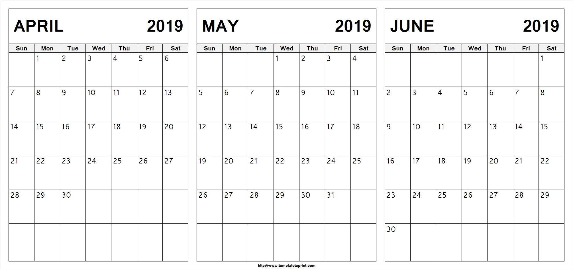 Editable April May June 2019 Calendar #april #may #june in 3 Month Editable Calendar Template Printable