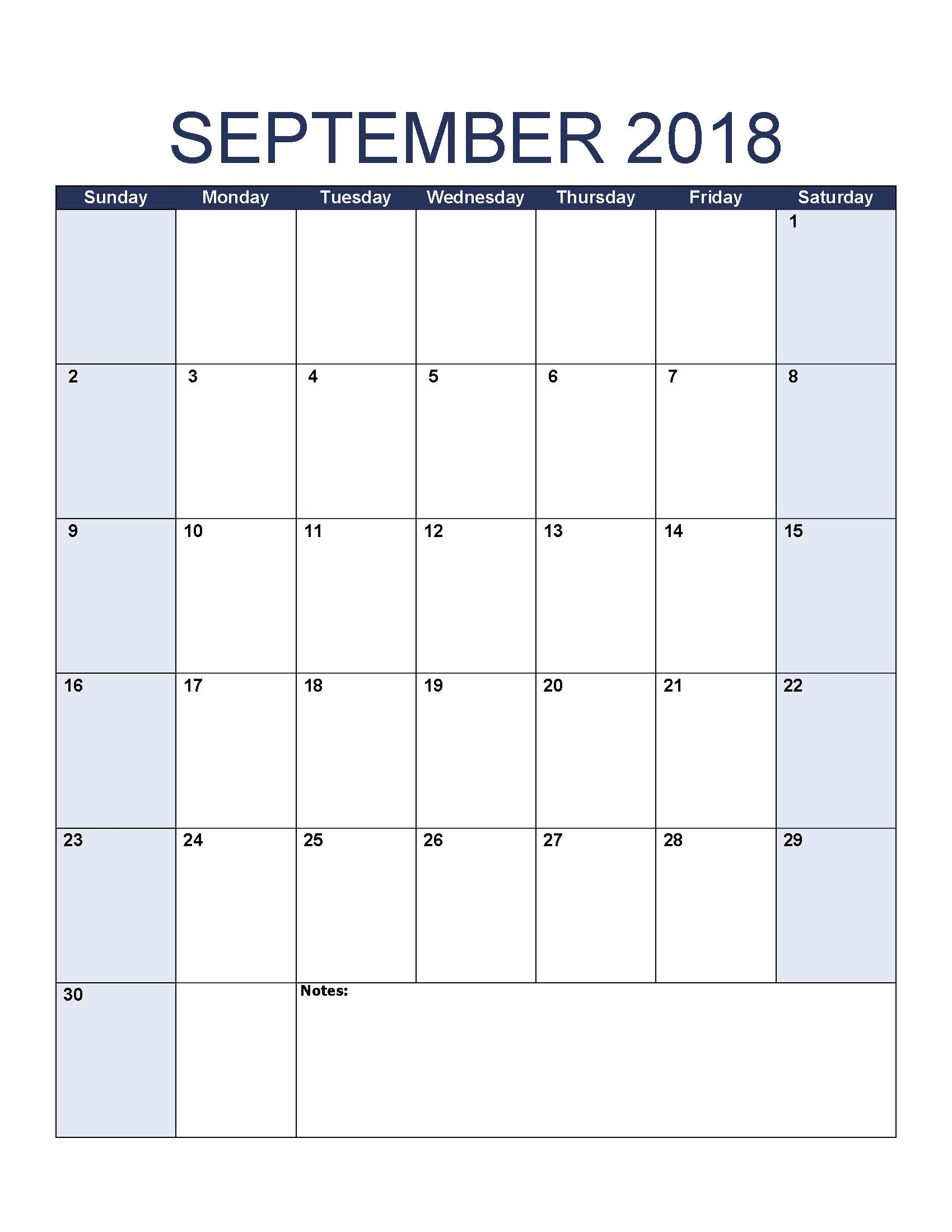 Editable Blank September 2018 Calendar Printable Pages throughout Printable Blank Calendar Pages For September