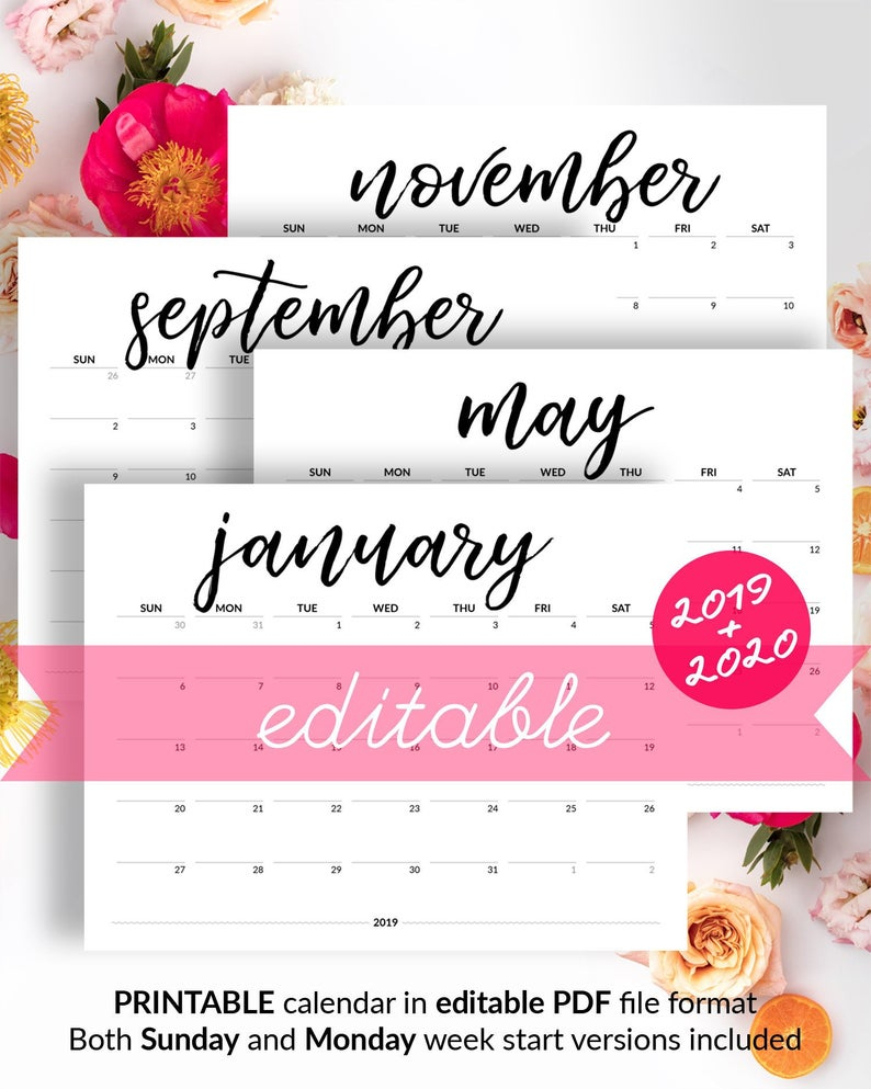 Editable Calendar 2019 Printable Calendar To Type In 2019-2020 Desk  Calendar Minimalist Calendar With Birthdays Monthly Calendar For Fridge in Calendar To Type On 2019 - 2020