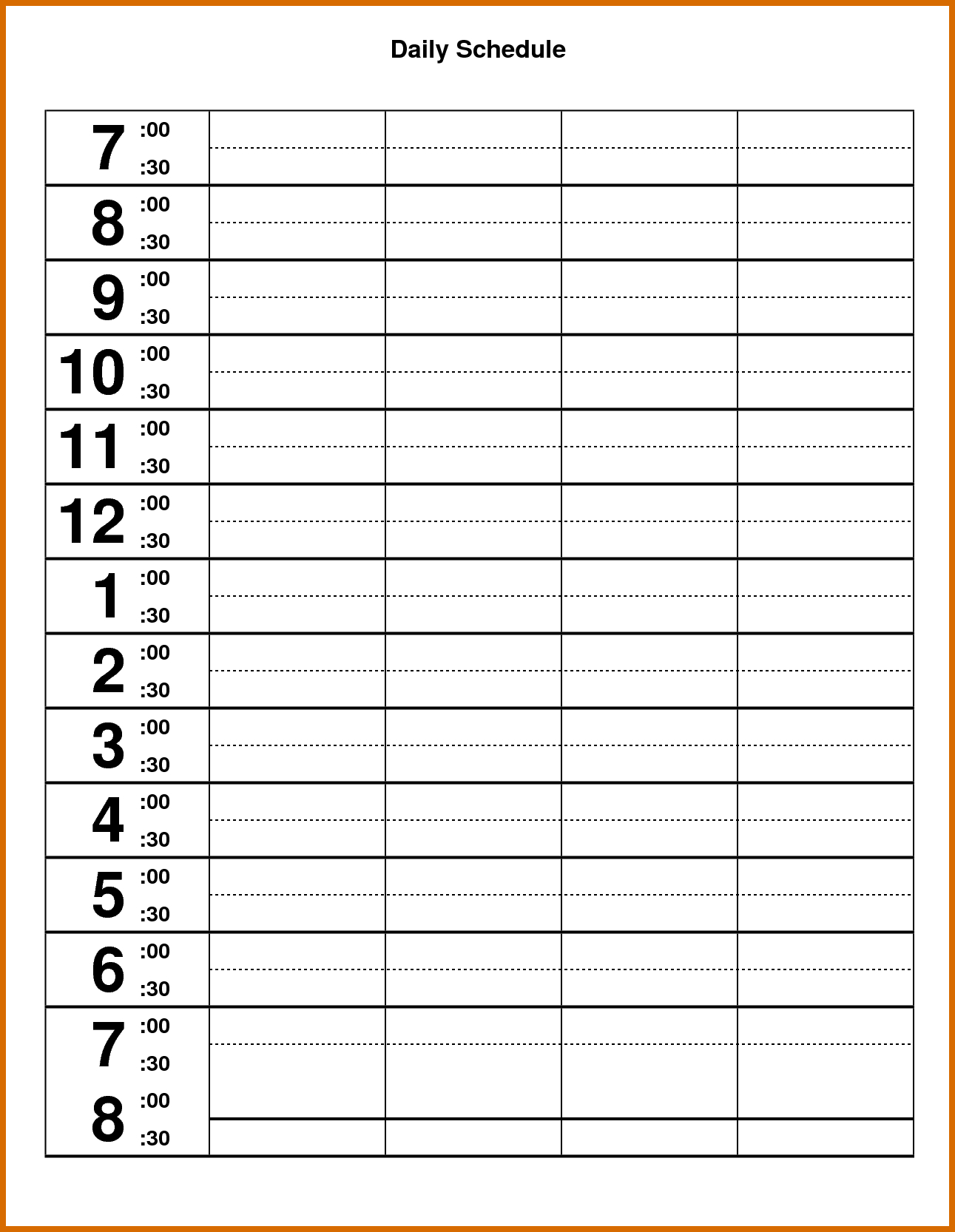 Editable Daily Schedule Template Cards Planner Meal Calendar Routine intended for Blank Calendar Chart For Classrooms