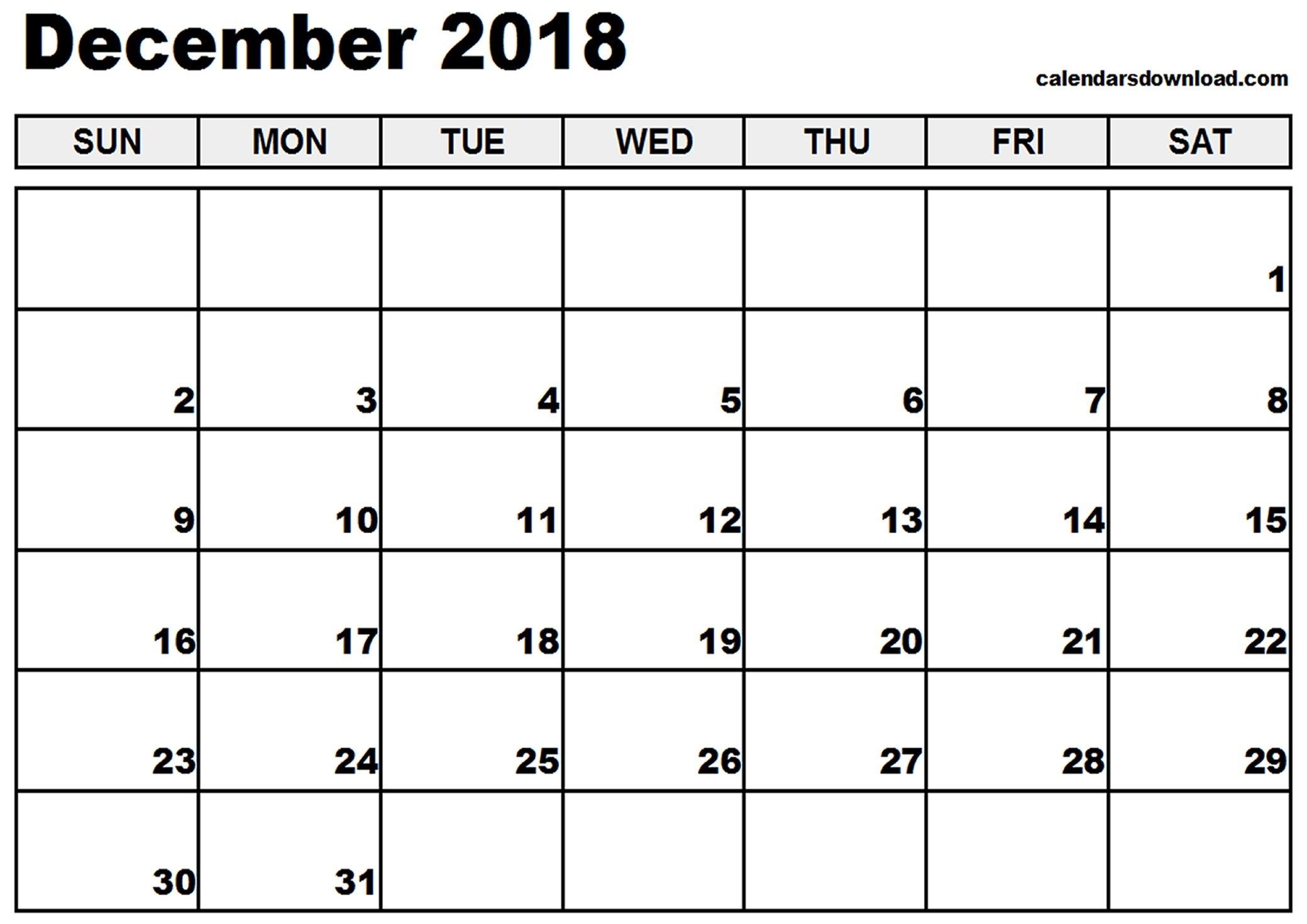 Editable December 2018 Calendar Blank Template - Printable Calendar with December Calendar Printable Template