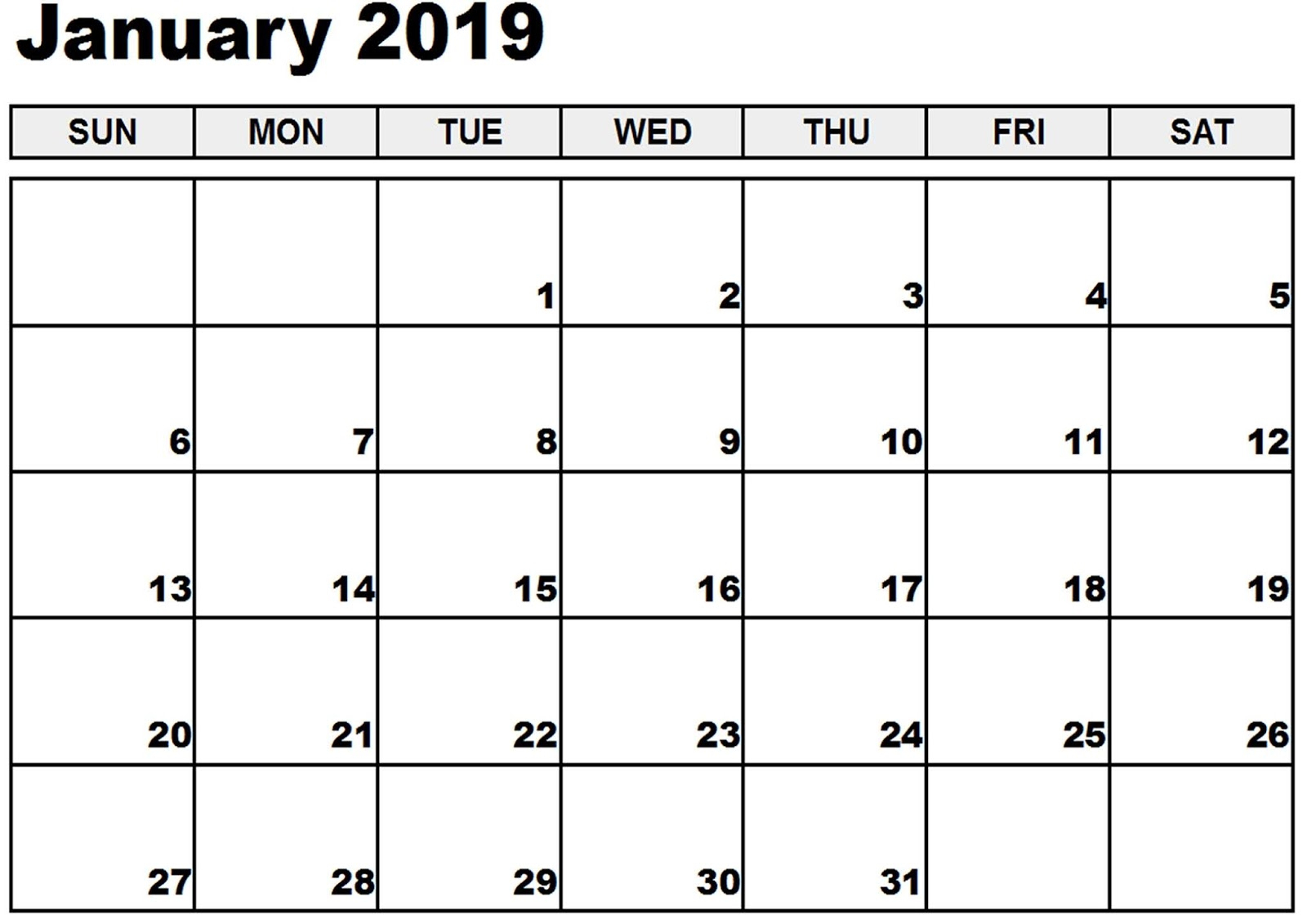 Editable January 2019 Calendar Blank Template - Printable Calendar regarding Free Fillable Blank Calendar Templates