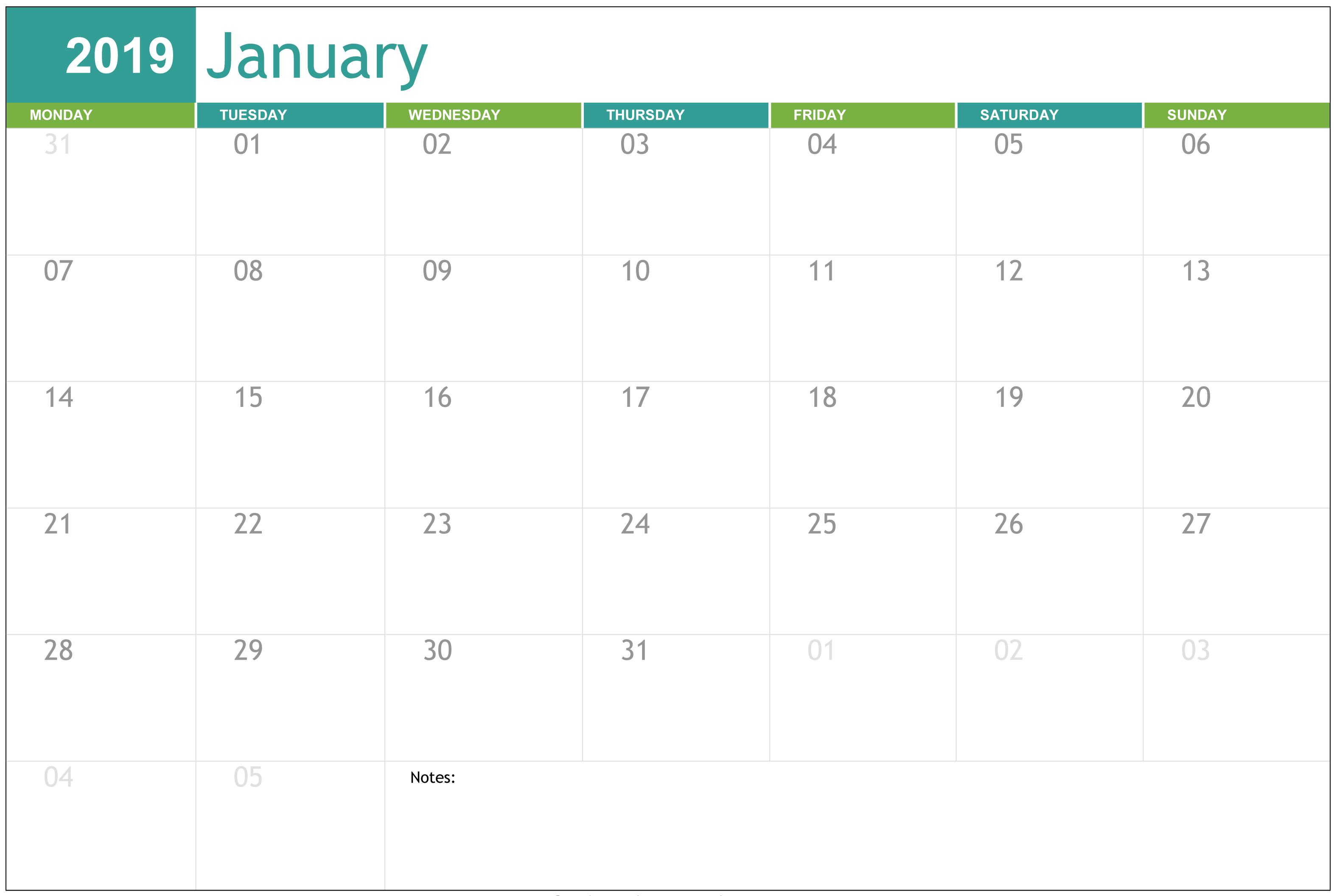 Editable January 2019 Calendar Printable Template throughout November Calendar Templates Editable
