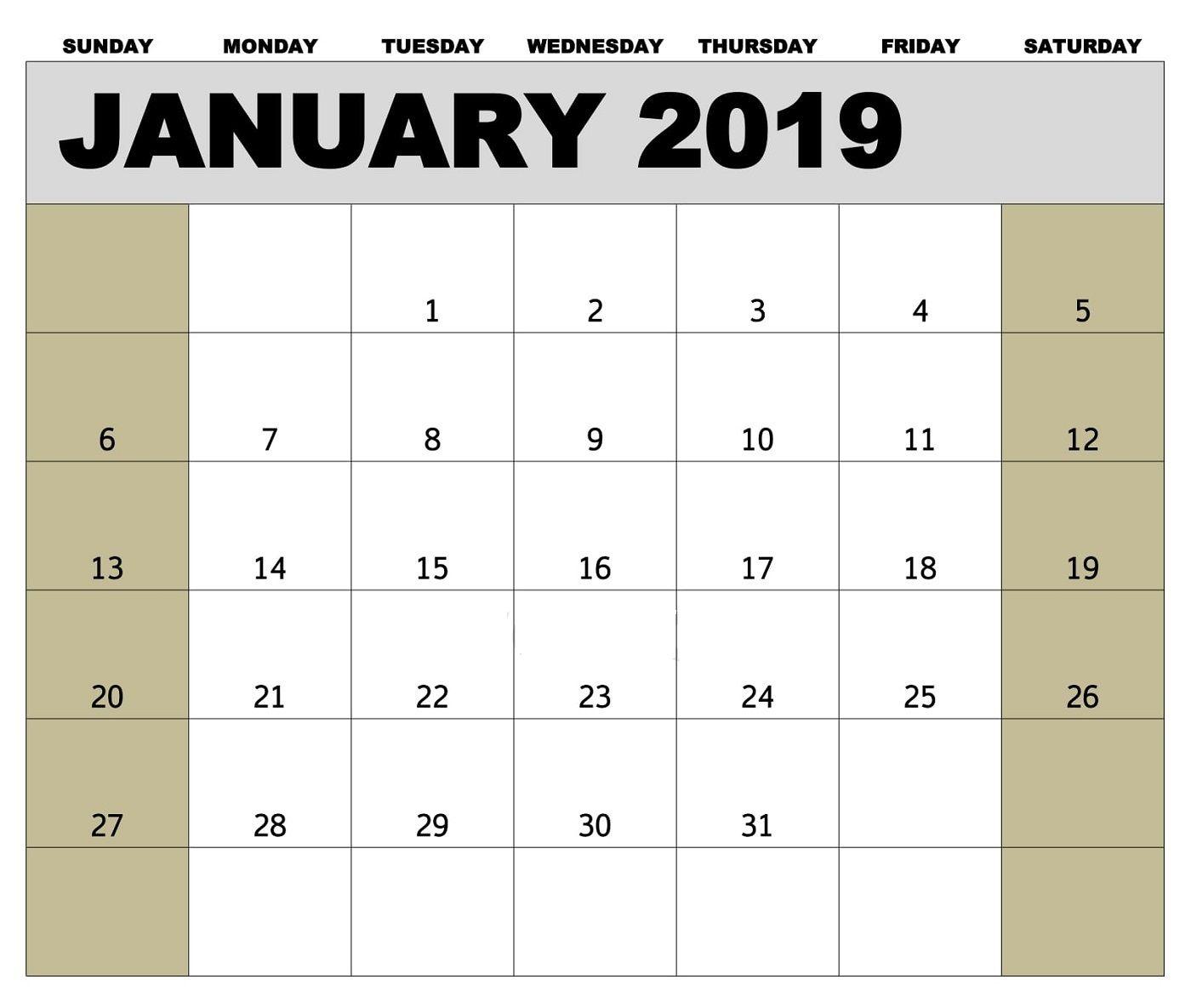Editable January 2019 Calendar Template #januarycalendar inside Biweekly Payroll Schedule Template