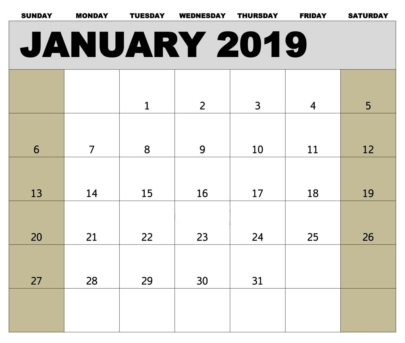 Editable January 2019 Calendar Template #januarycalendar intended for Biweekly Payroll Calendar Template