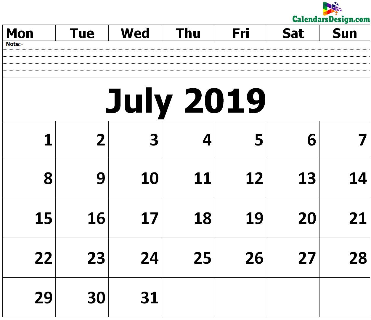 Editable July 2019 Calendar Blank Template - Free 2019 Printable throughout Free Fillable Blank Calendar Templates