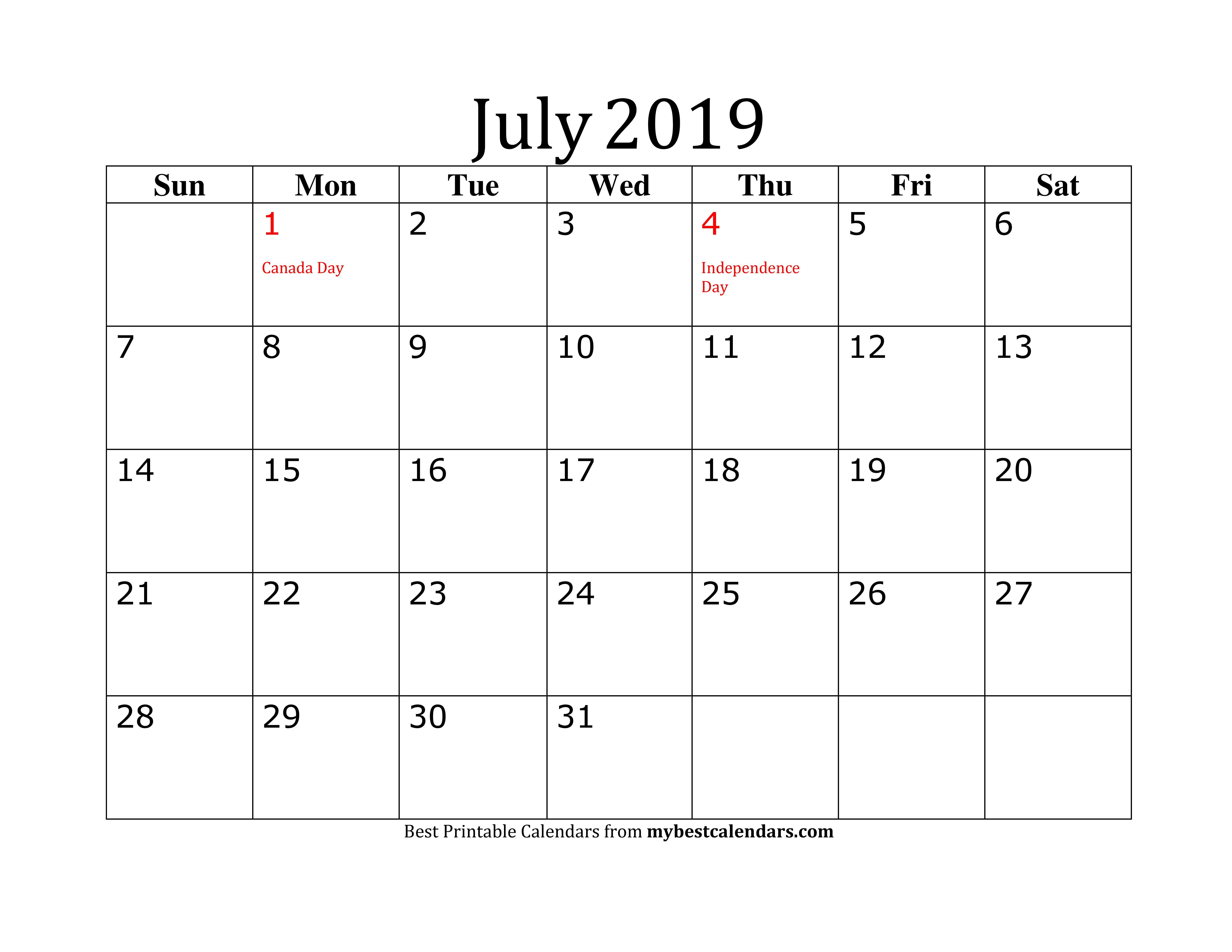 Editable July 2019 Calendar In Pdf, Word, Excel - Printable Format regarding Editable October 2019 Calendar With Religious Holidays