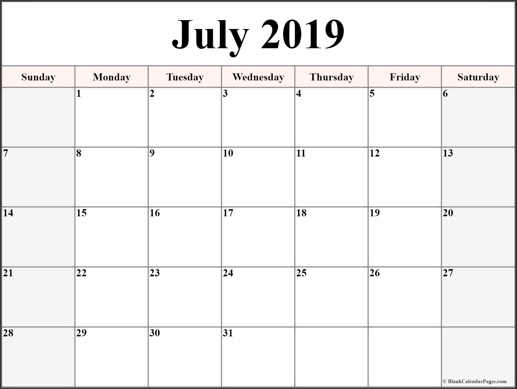 Editable July 2019 Calendar Printable Blank Template With Notes within Blank July Calendar Printable