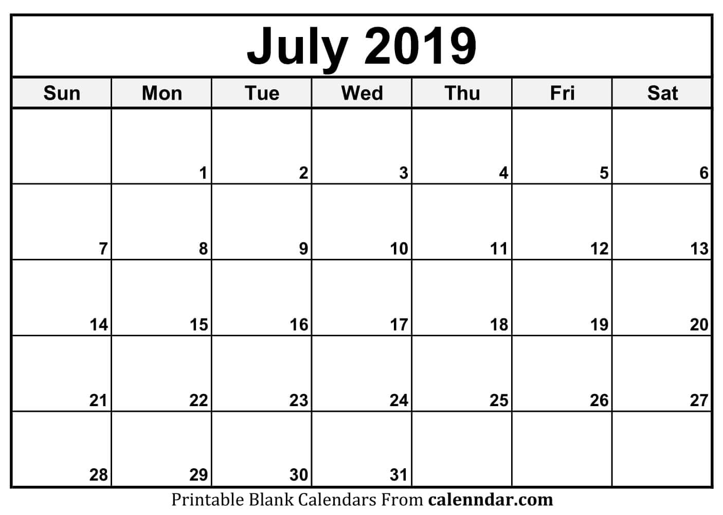 Editable July 2019 Calendar Printable Template With Holidays inside Philippine Blank July Calendar Printable