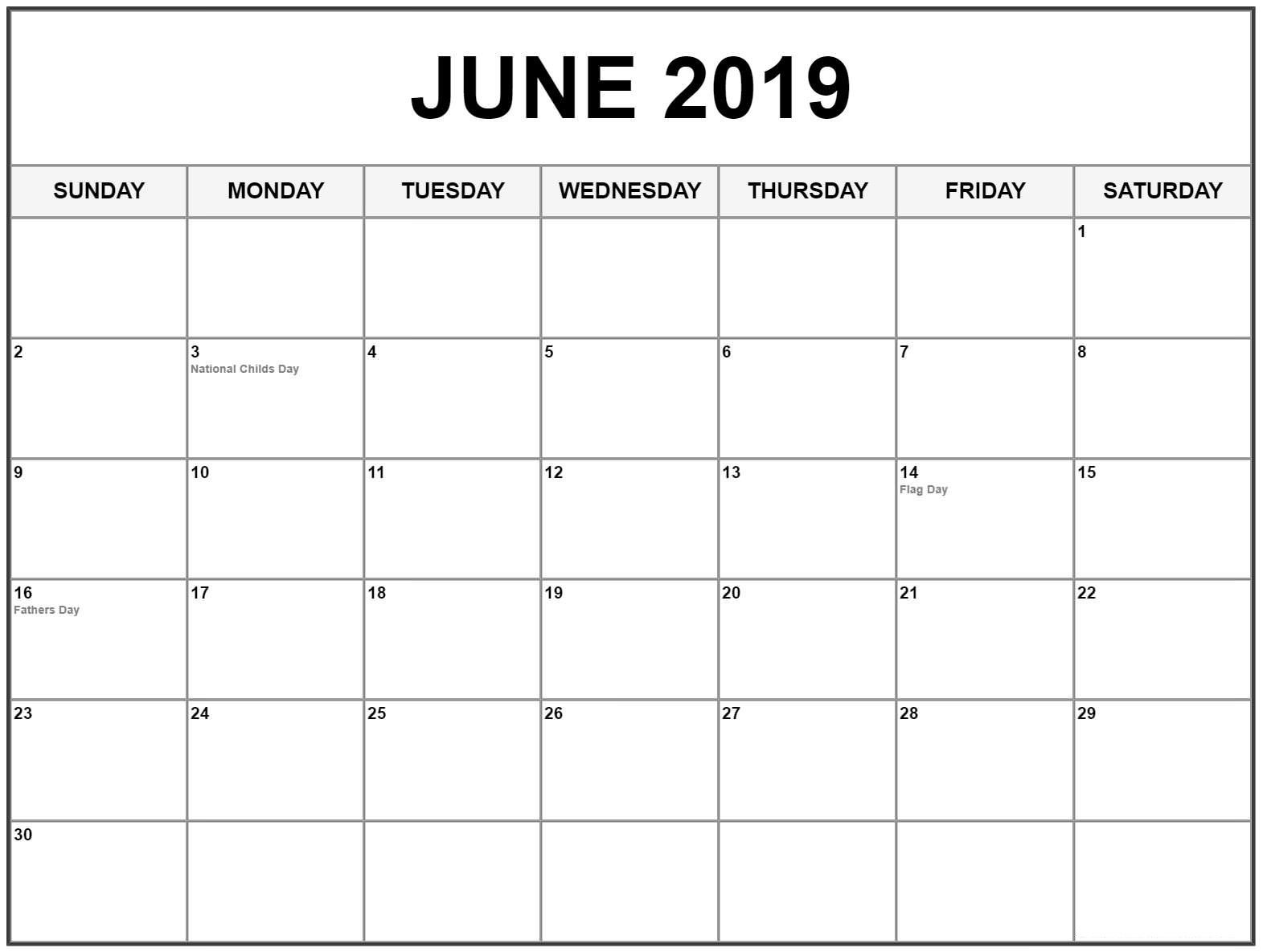 Editable June 2019 Calendar #june #junecalendar2019 #2019Calendar regarding Printable Blank Calendar June
