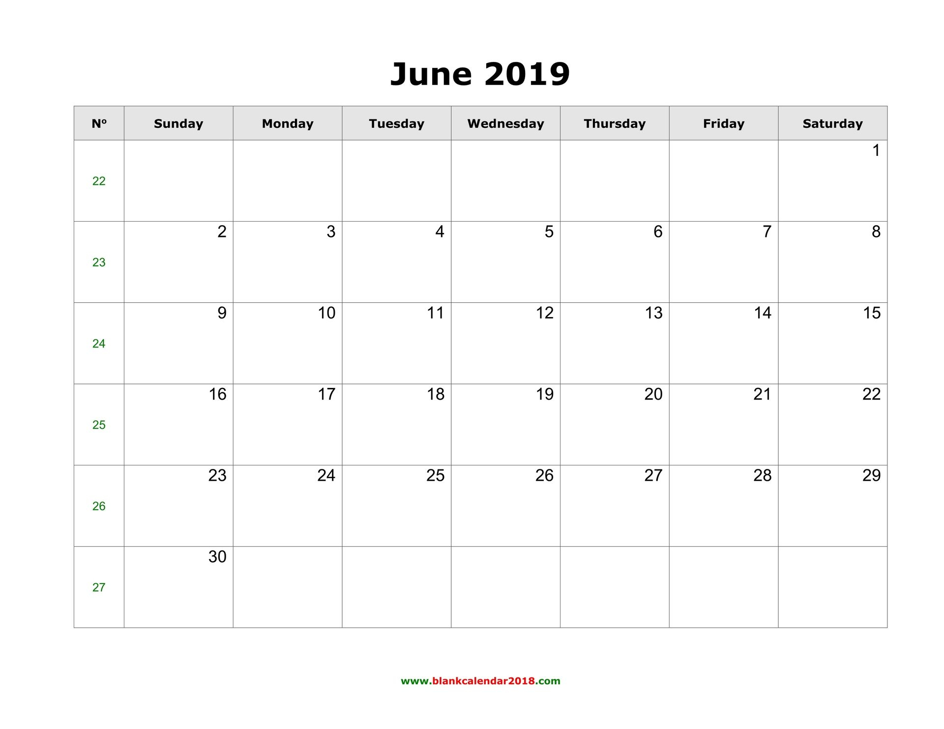 Editable June 2019 Calendar Word Template Portrait Landscape Blank intended for Blank Calendar Template With Notes