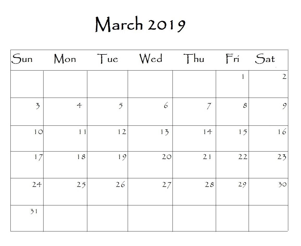 Editable March 2019 Calendar Archives - 2019 Calendar Template in Calendar Template Fillable Pdf