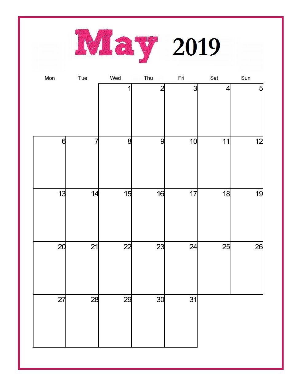 Editable May 2019 Calendar To Print Pdf Word Blank Blank Templates Notes inside Monthly Calendar Templates Portrait Editable