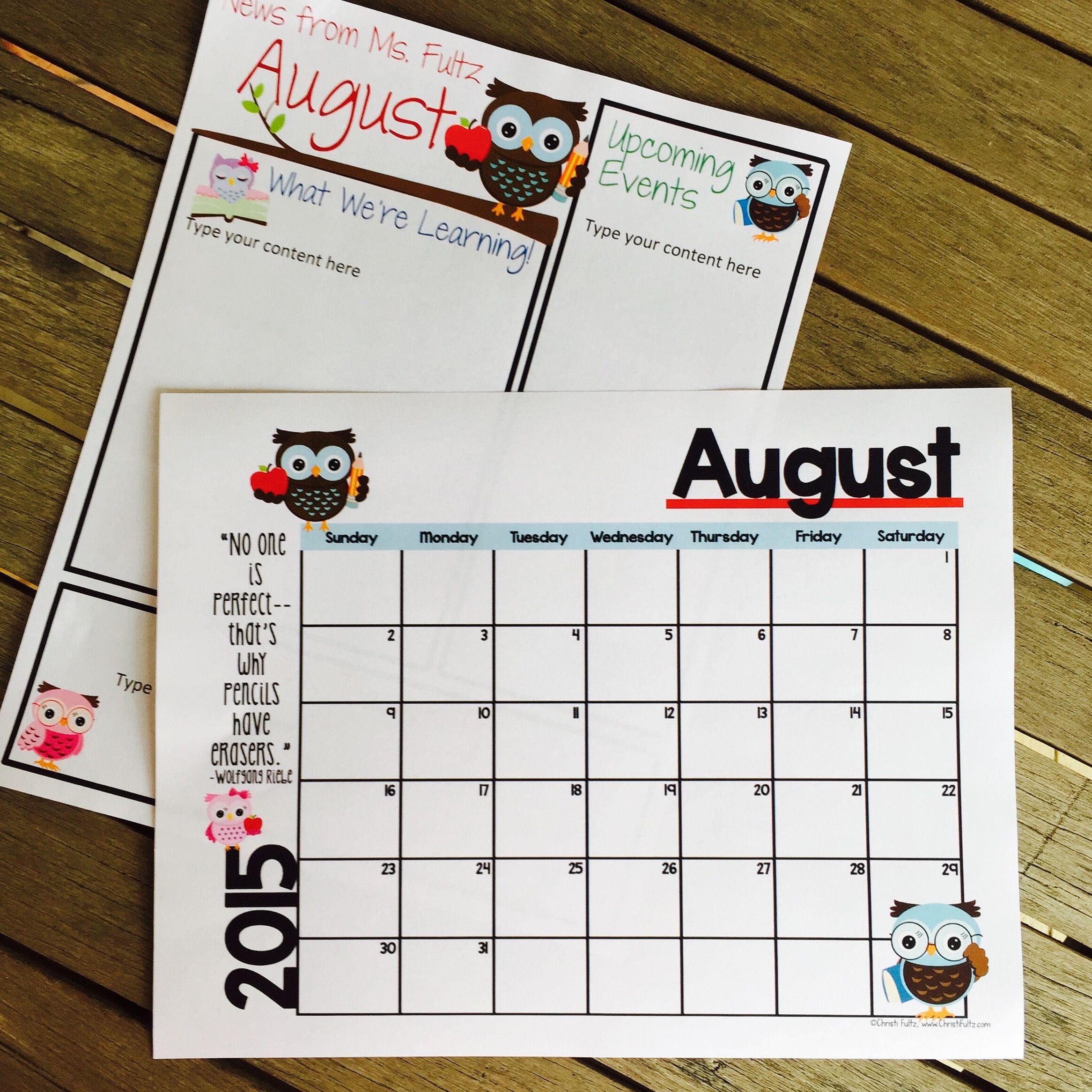 Editable Newsletter And Calendar Templates With A Seasonal Owl Theme within August Calendar Template For Pre K