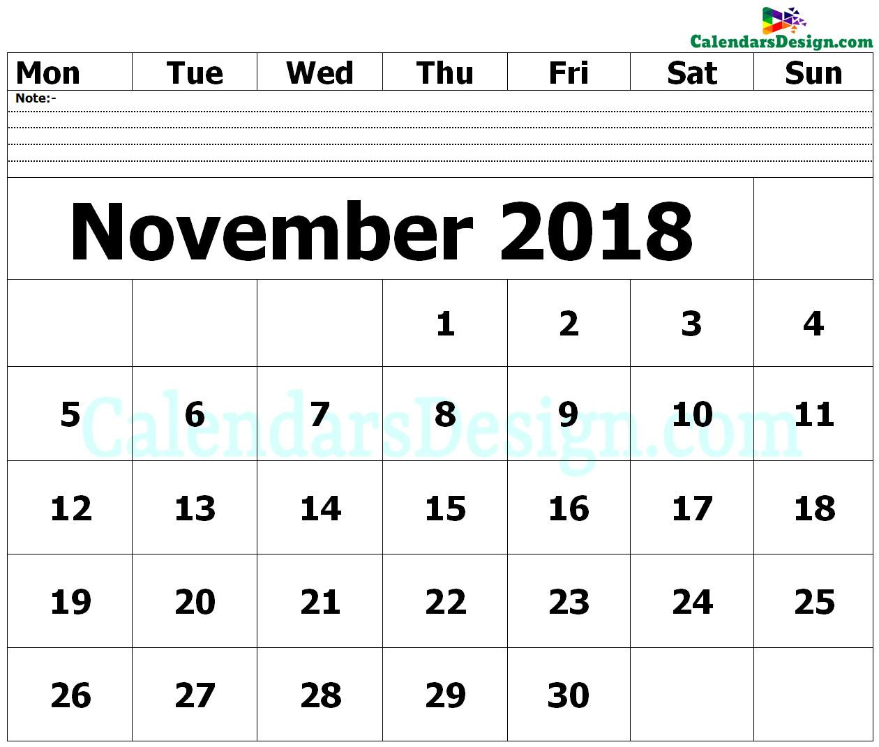 Editable November 2018 Calendar Blank Template - Free 2019 Printable with regard to November Calendar Templates Editable