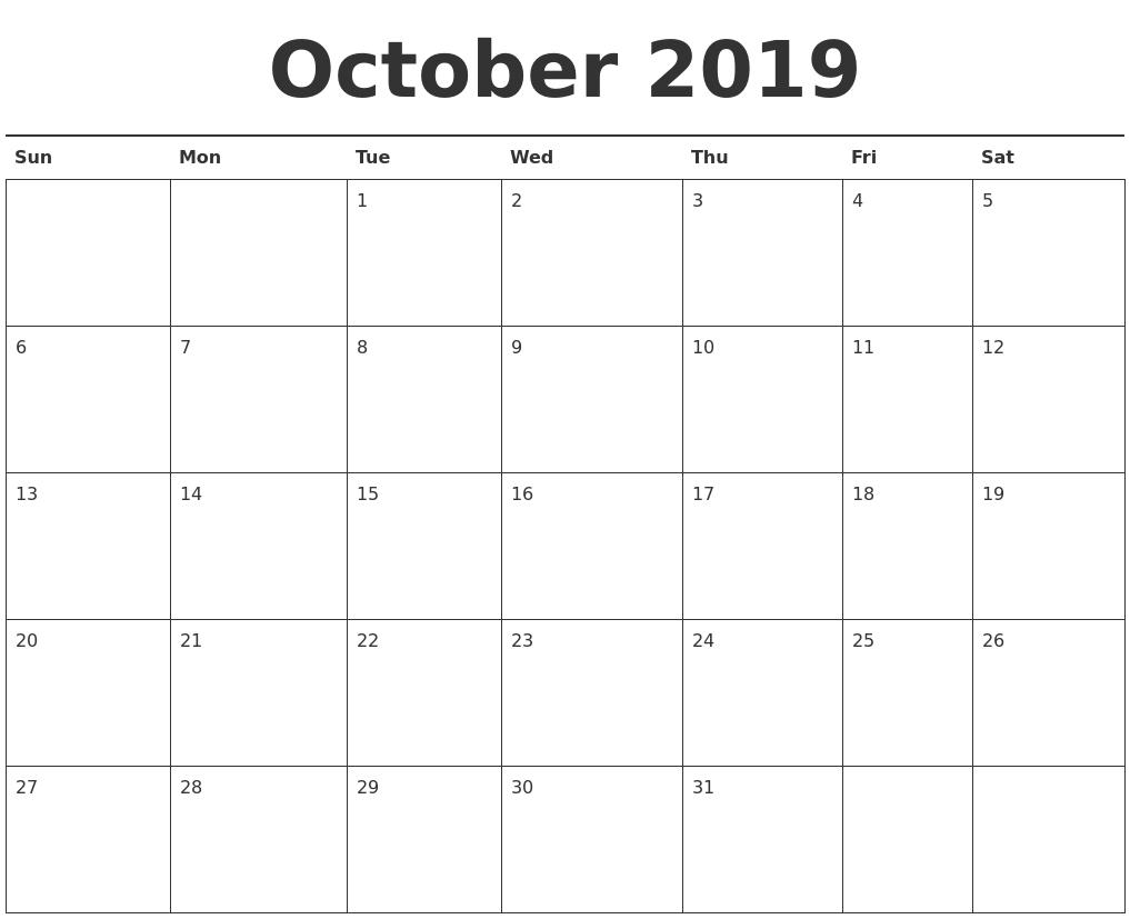 Editable October 2019 Printable Calendar - Word, Pdf, Excel throughout Editable October 2019 Calendar With Religious Holidays