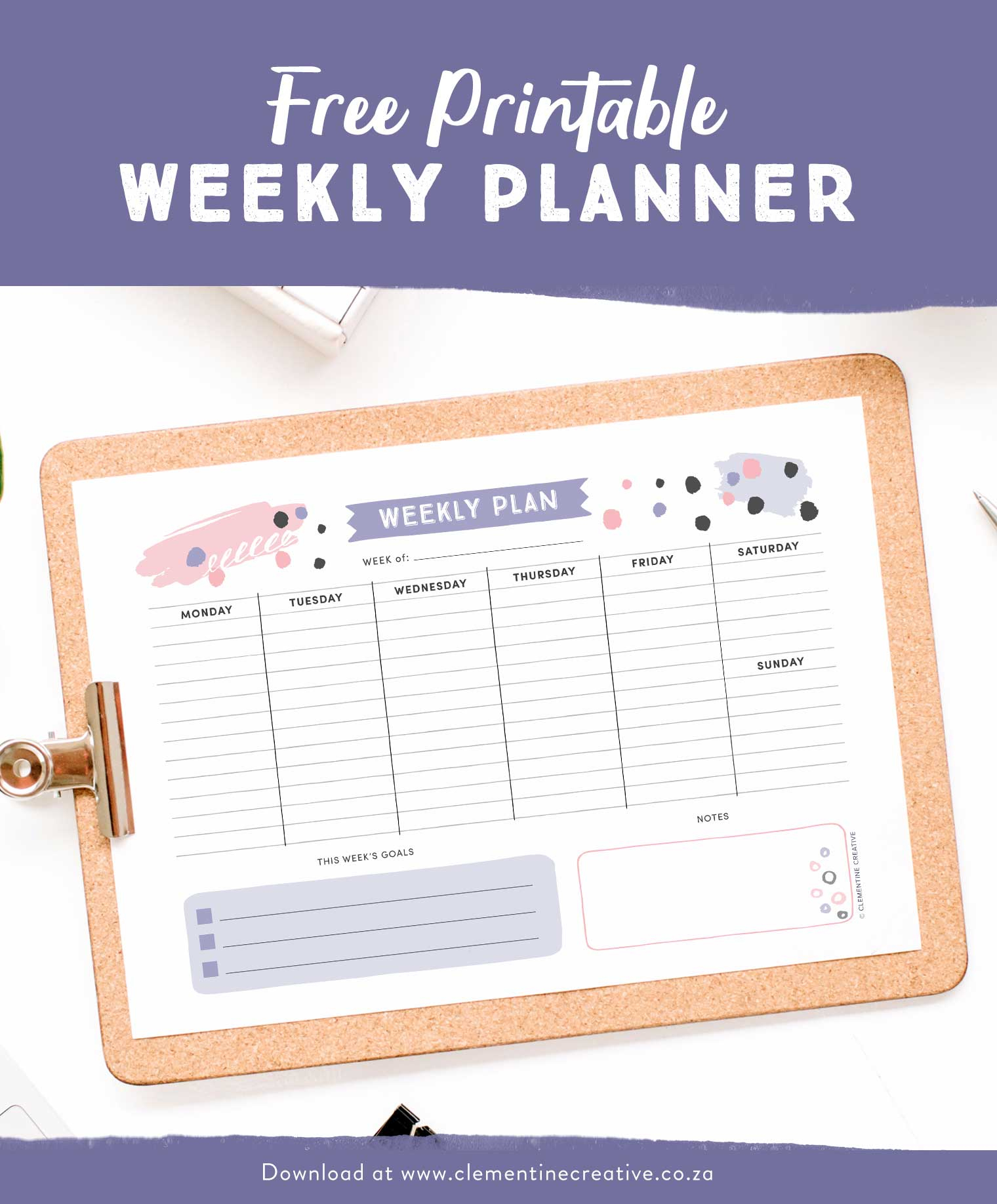 Editable Weekly Planner Template Free Printable Pages Blank For in Free Downloadable Cute Calendar Template