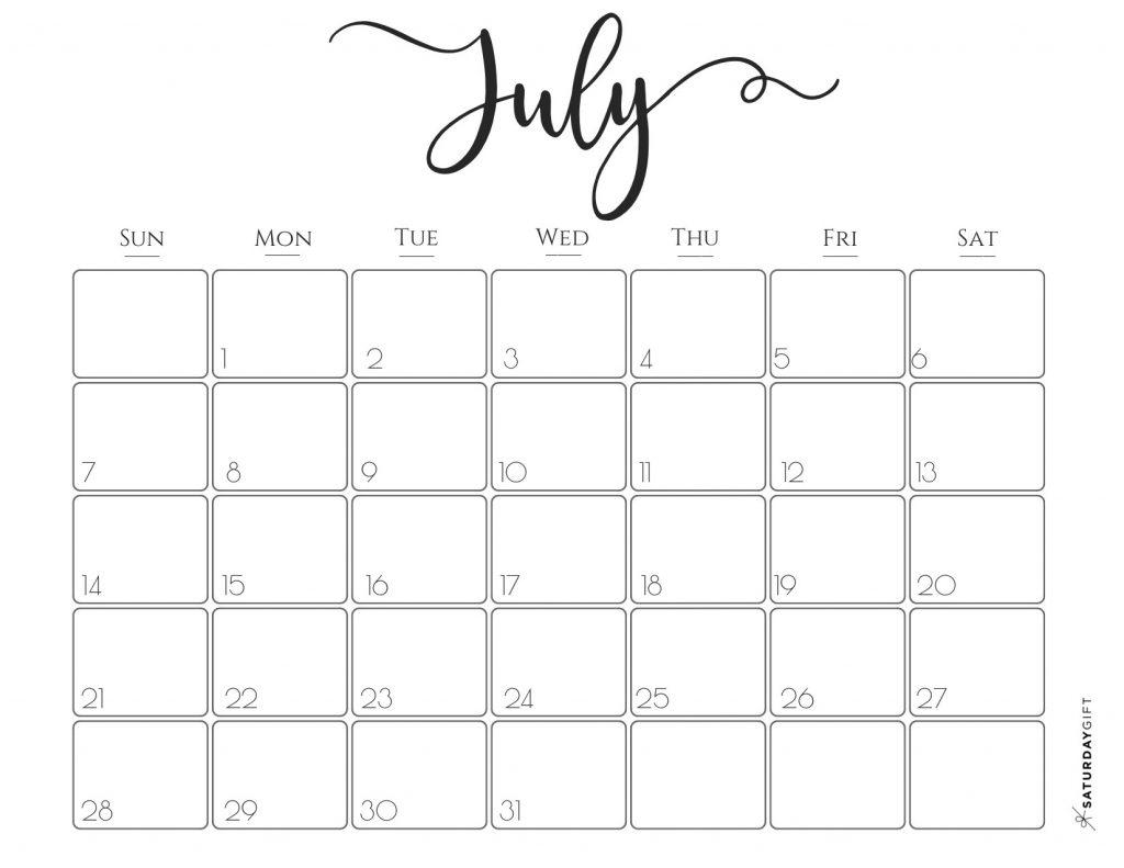 Elegant 2019 Calendar {Free Printables} | Saturdaygift intended for Cute Calendar Templates July