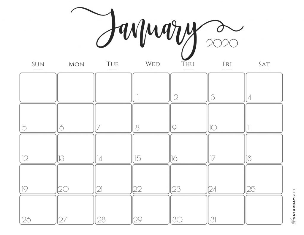 Elegant 2020 Calendar {Free Printables} | Saturdaygift within Pretty Printable Calendar 2020 Without Download