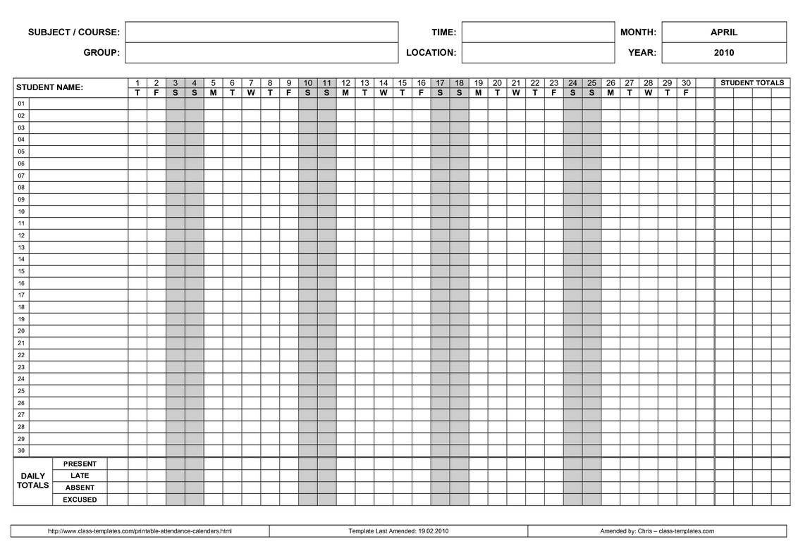 Employee Attendance Calendar – Emmamcintyrephotography throughout Free Printable Employee Attendance Calendar Template