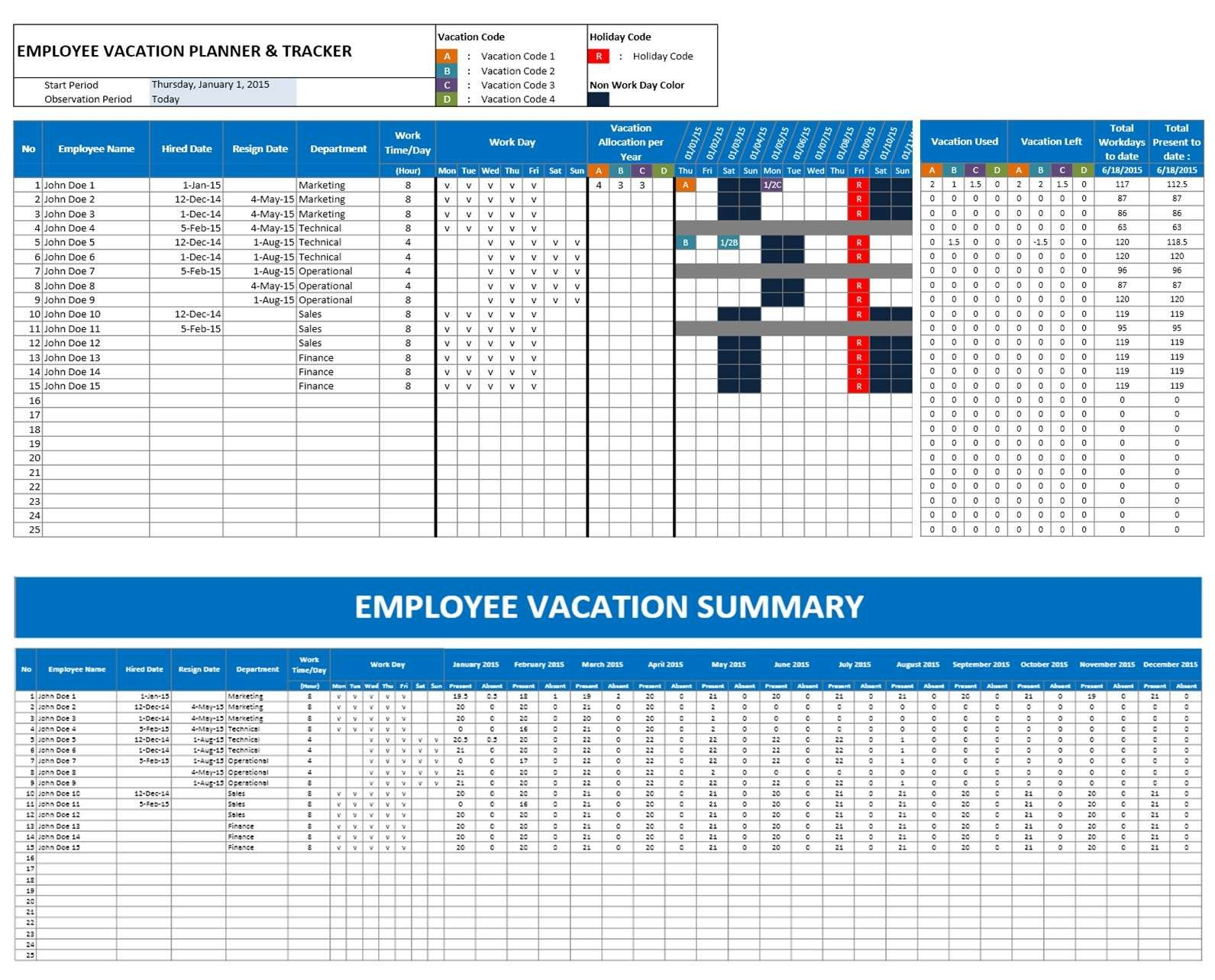 Employee Attendance Calendar Excel Template - Google Search | Mgmt with Calendar Template Excel Vacations