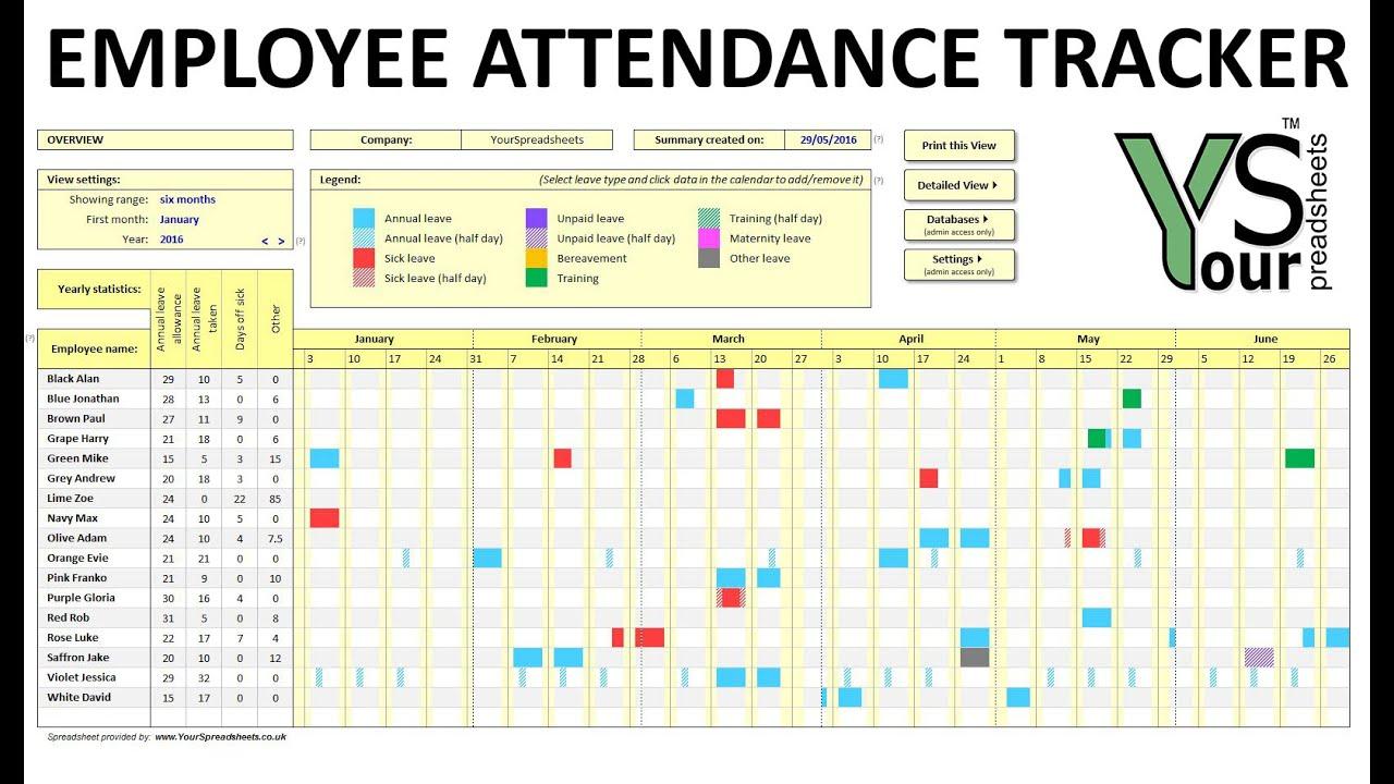 Employee Attendance Tracker Spreadsheet for Printable Employee Attendance Calendar Template