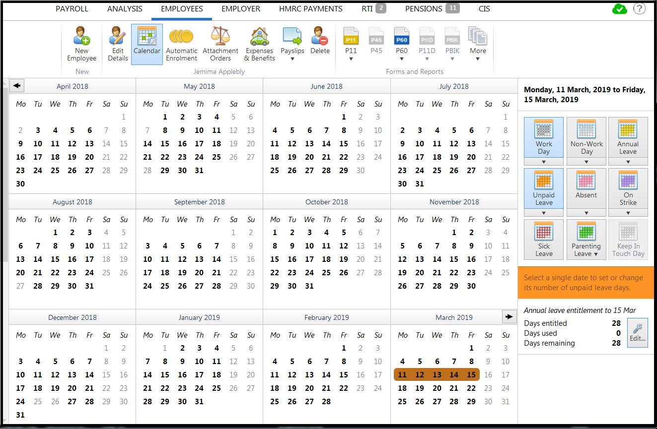 Employee Calendar - Brightpay Documentation in Hmrc Tax Week Calendar 2019 2020
