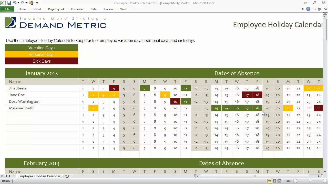 Employee Holiday Calendar Template 2013 for Calendar Template Excel Vacations